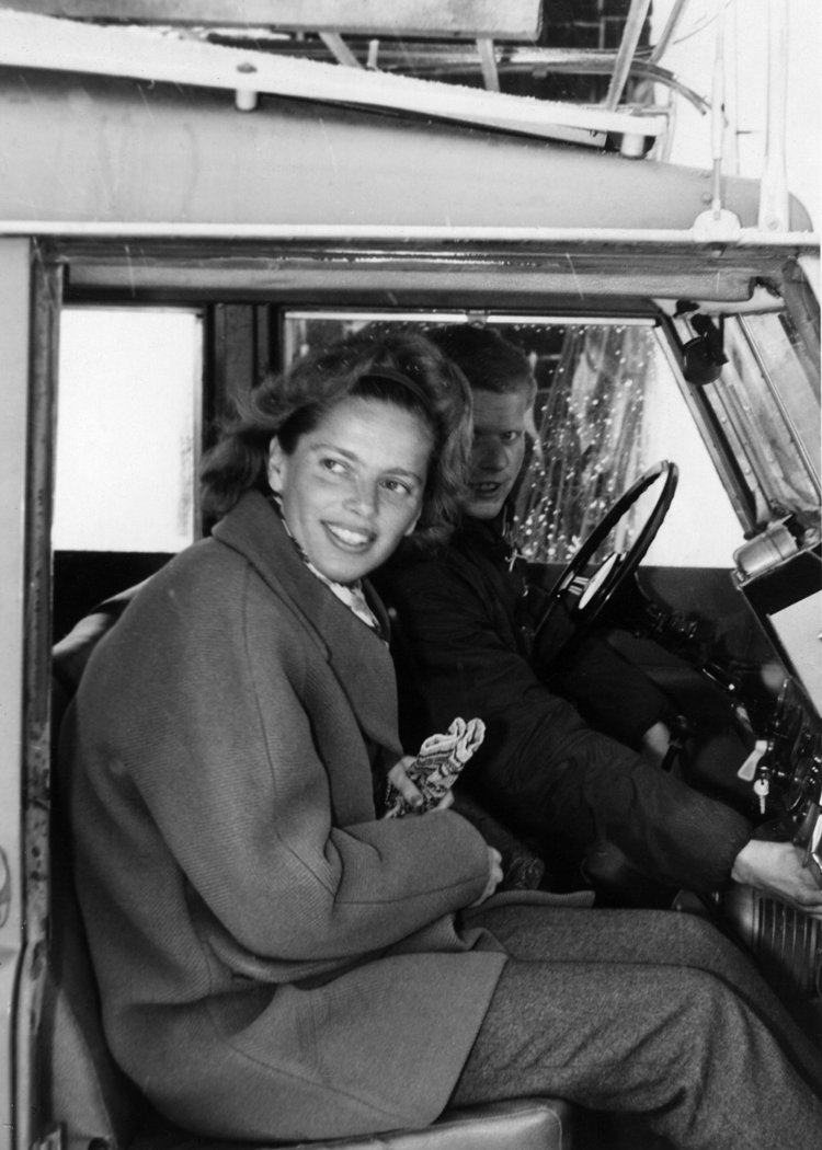 Agnes Ullmann in Paris, winter 1958. Headed to a party outside the city, driver is unidentified. (Courtesy of Agnes Ullmann.)