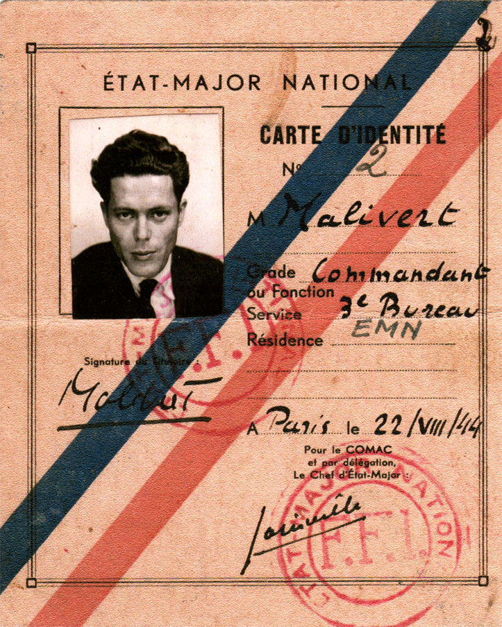 "Jacques Monod's identity card for the French Forces of the Interior (F.F.I.), in his nom de guerre ""Malivert."" (Courtesy of Olivier Monod)"