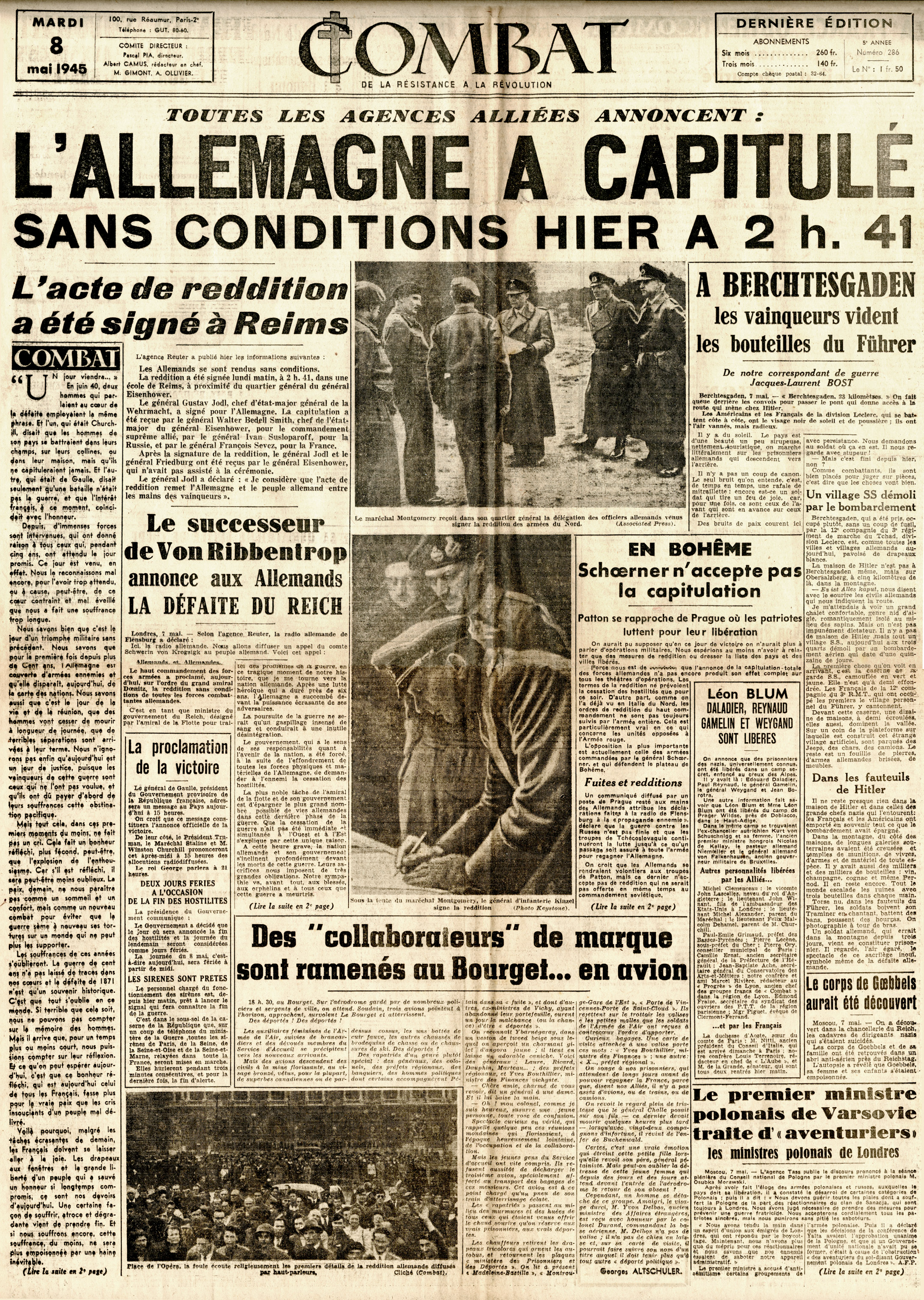 Combat  May 8th, 1945. The headline announces the surrender of Germany. (Author's collection)
