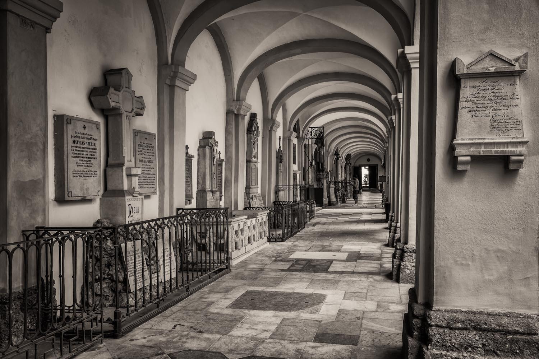 An exploration of tonality down an open corridor at the St. Sebastian Cemetery, Salzburg, Austria