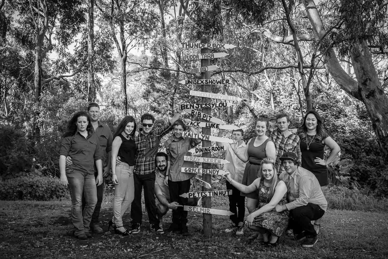 Casual family portrait at bush camp