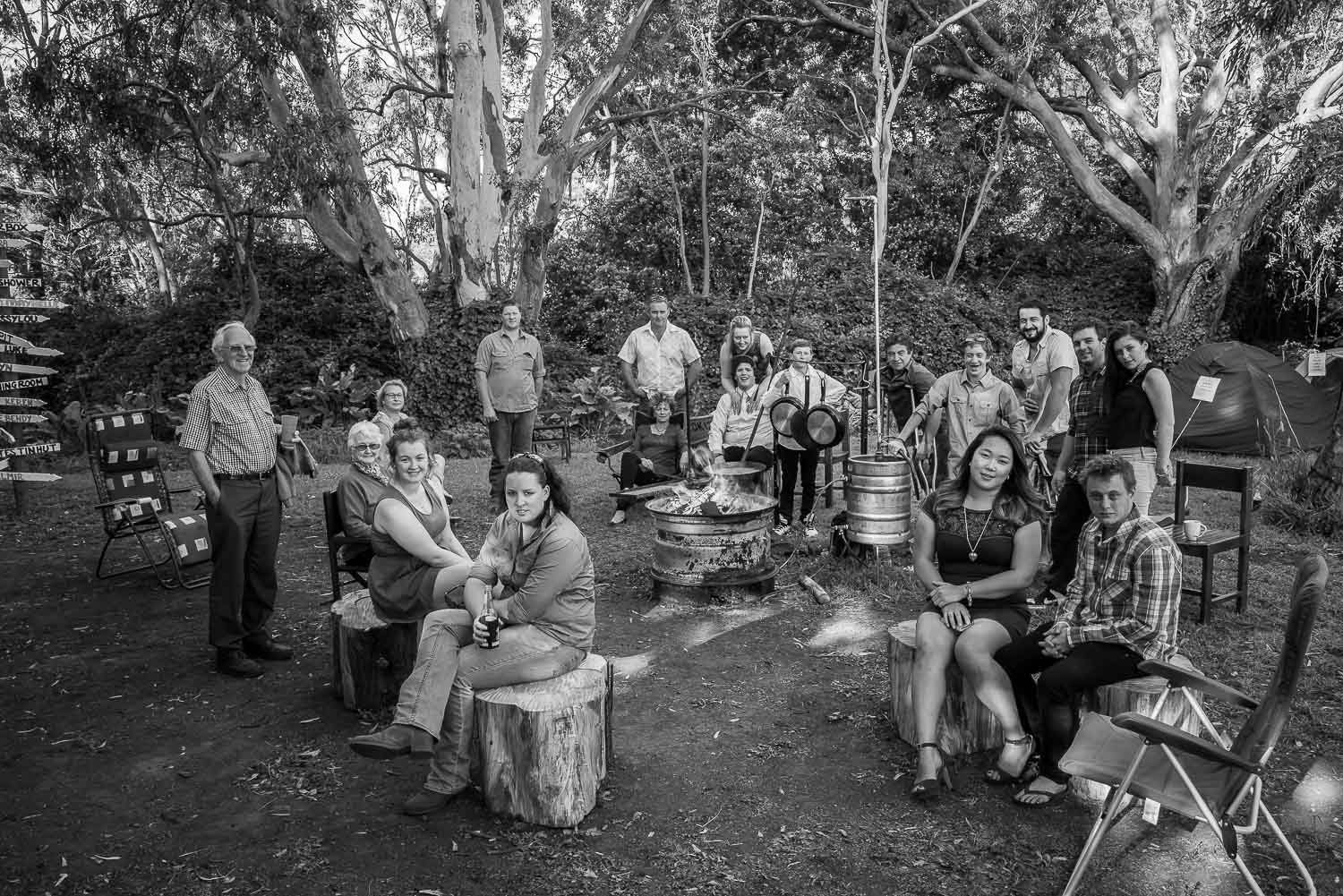 Relaxed Family Group Portrait at Bush Camp
