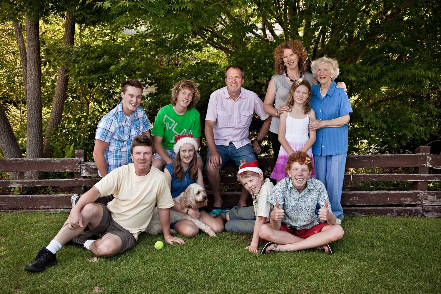 This photo, made on my mum's nature strip during Christmas 2008, includes the members of the extended family who made it back to mum's for the celebrations. Sadly, as the photographer, I'm usually on the other side of the lens.