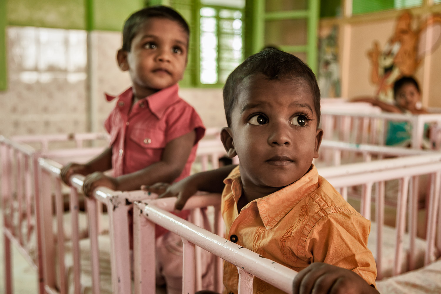 Children, just before their daytime nap, in a nursery on St. Thomas Mount in Chennai, India.