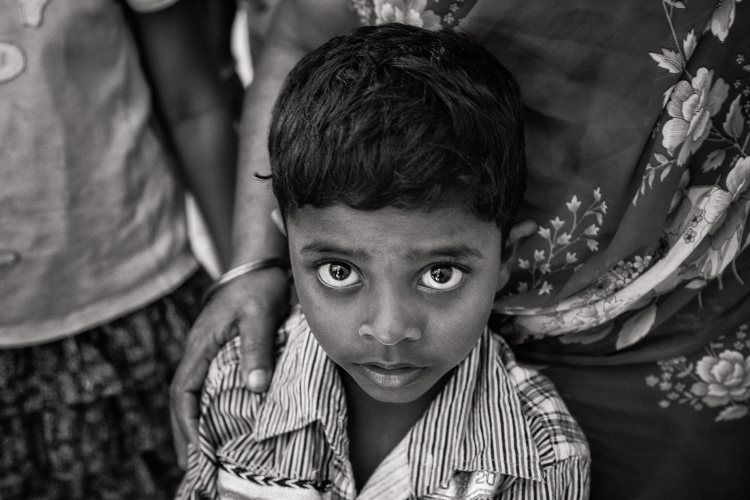 A highly emotive portrait of a young boy on  St. Thomas Mount  near  Chennai, India .