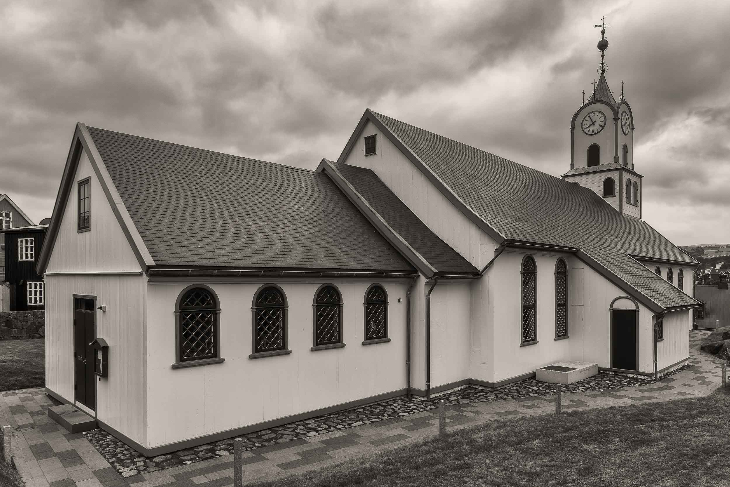 A stormy sky over    Tórshavn Cathedral    in the    Faroe Islands   .