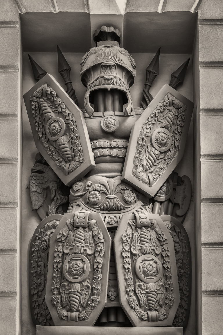 A highly detailed  statue  of a warrior-like figure in  Palace Square  in  St. Petersburg, Russia .