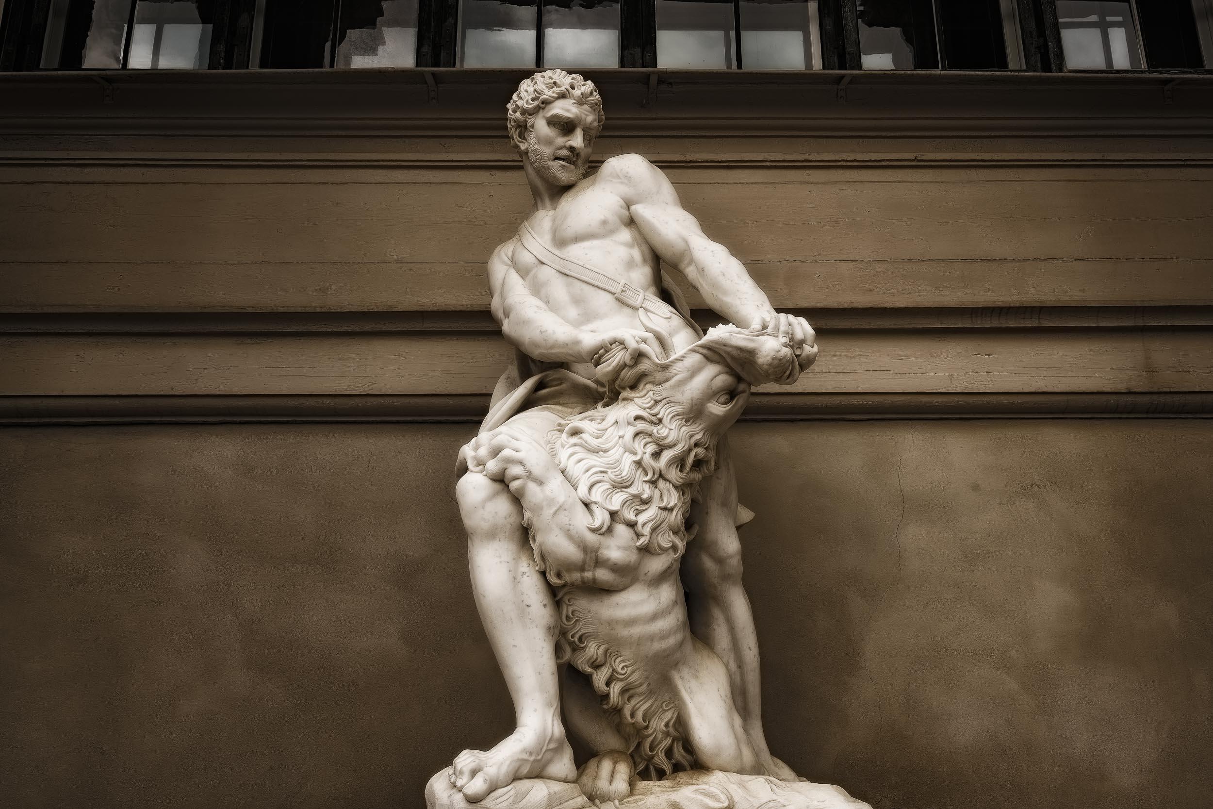 Hercules Statue    at the Hercules Pavilion in the    Kings Garden    in    Copenhagen, Denmark   .