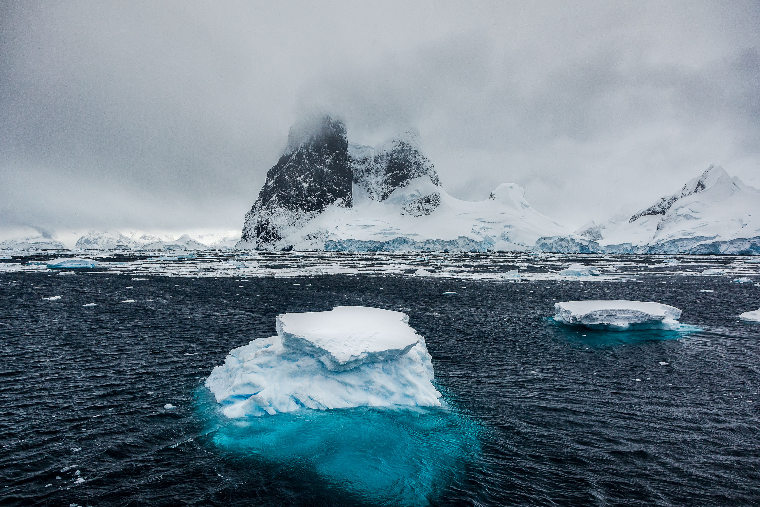 Cruising the waters off    Cuverville Island, Antarctica   .