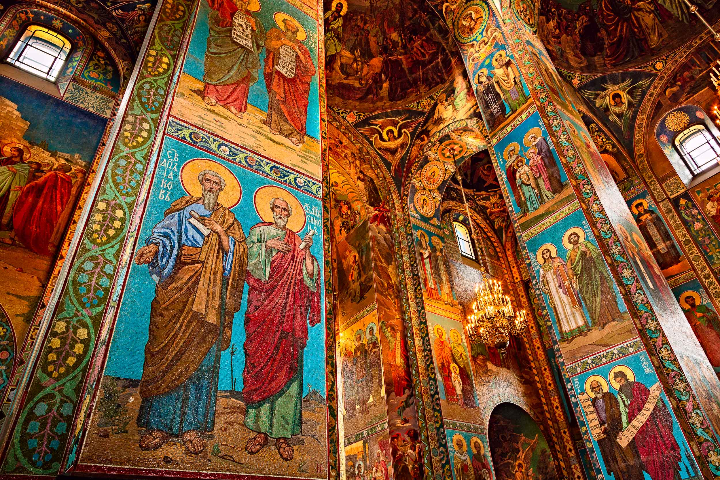 Very  colorful mosaics  in the interior of the spectacular  Church of the Savior on the Spilled Blood  in  St. Petersburg, Russia