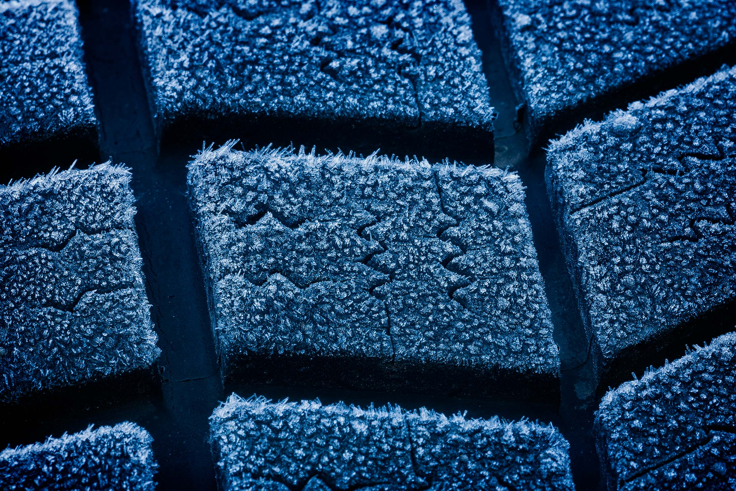 A close up of  frost on a car tyre  provides perfect subject matter for an exploration into the world of  abstraction .