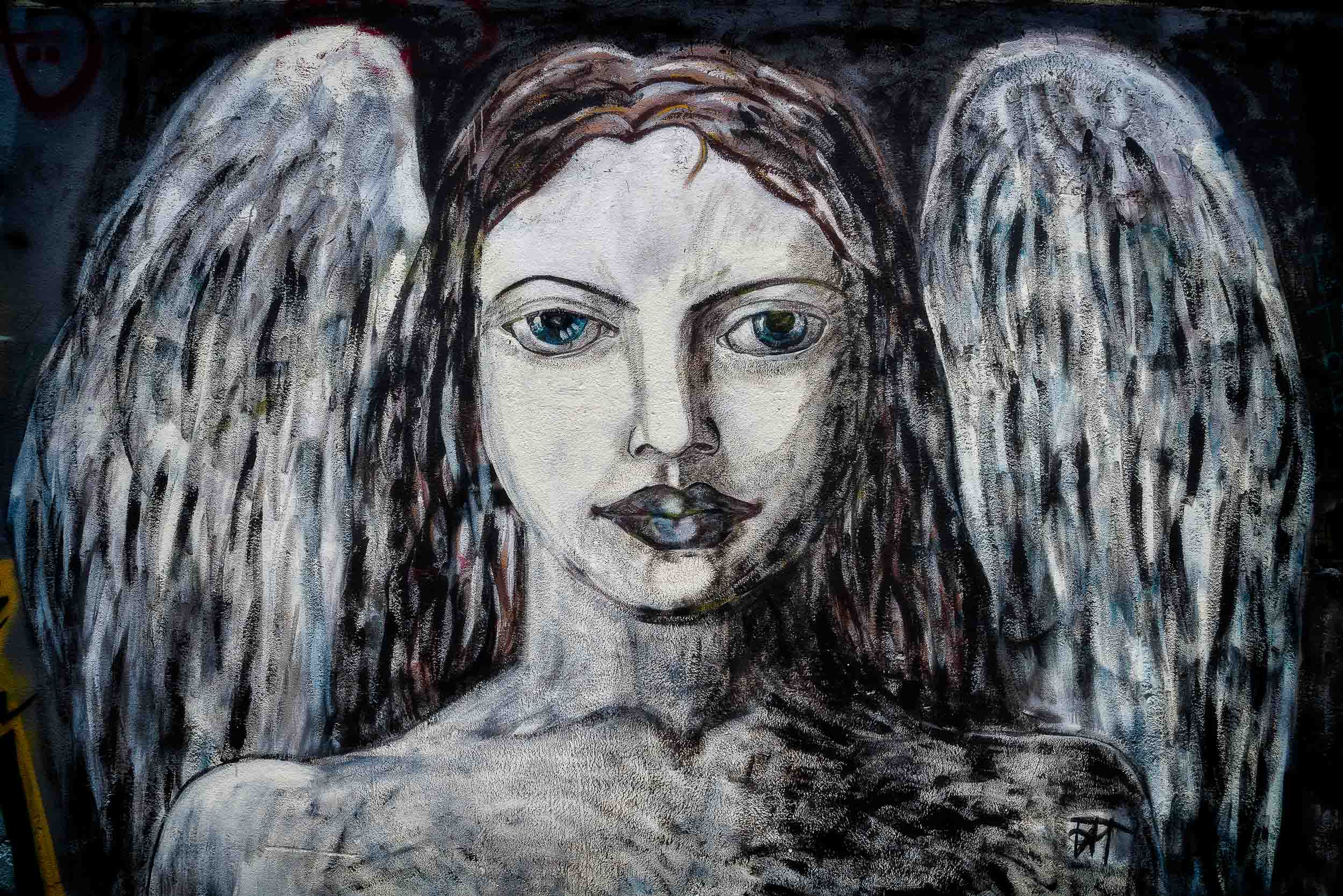 A beautiful example of    street art   , this    female angel    in suburban    Melbourne   .
