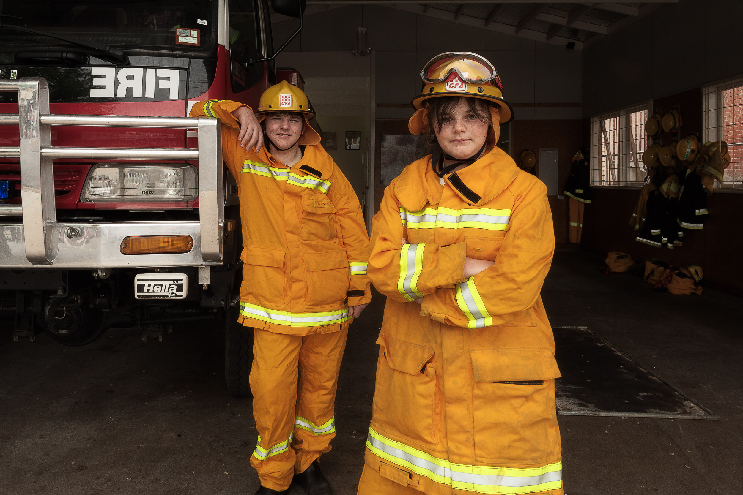 Brother and sister  volunteers  at  Maldon Fire Brigade  in  Maldon, Victoria .
