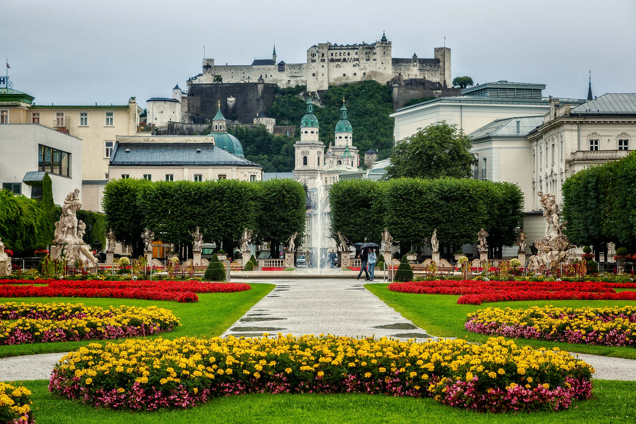 A classic view of  Hohensalzburg Fortress  from the beautiful  Mirabell Gardens  in  Salzburg, Austria .