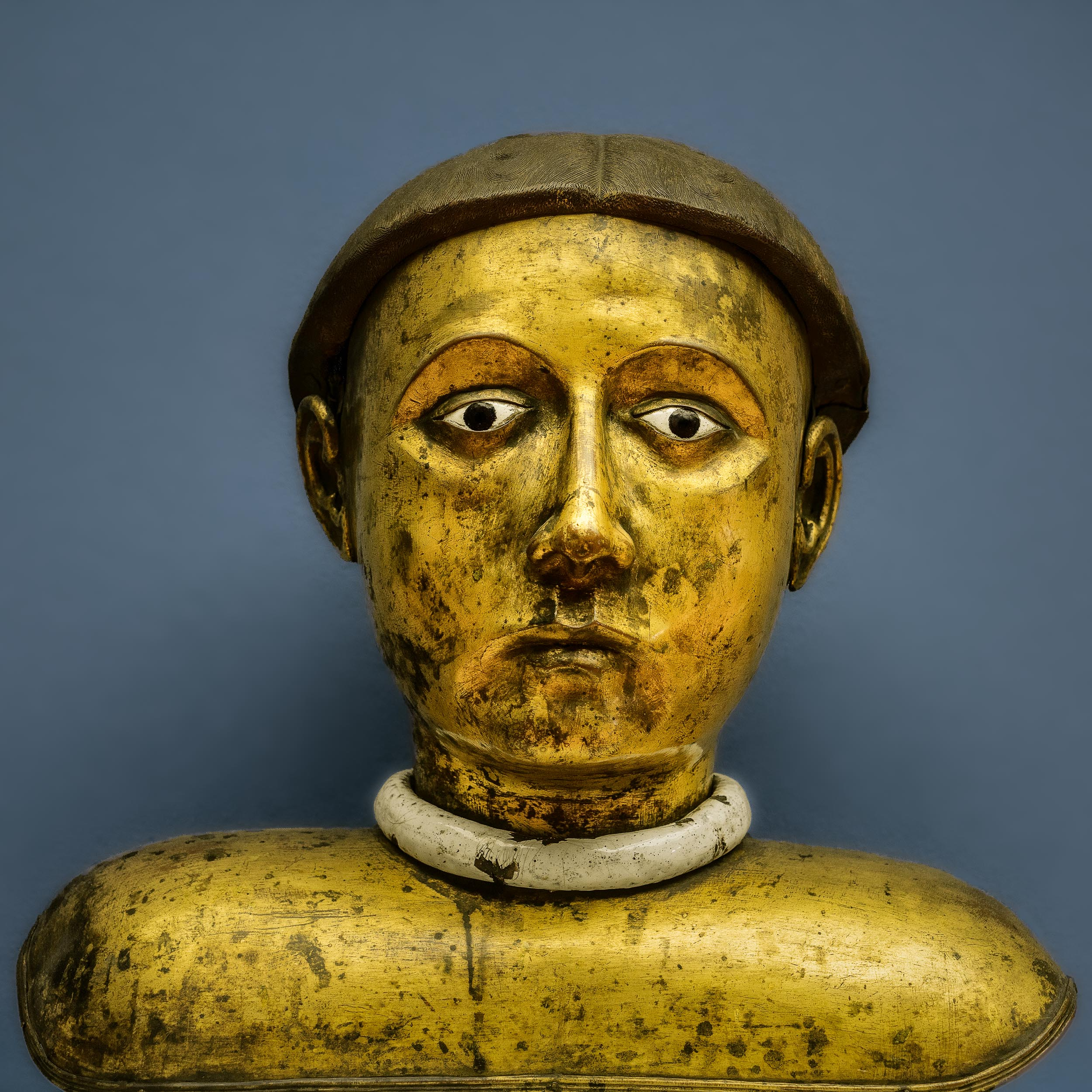 A beauitful    gold colored bust    in the    Bode Museum    in    Berlin, Germany   .