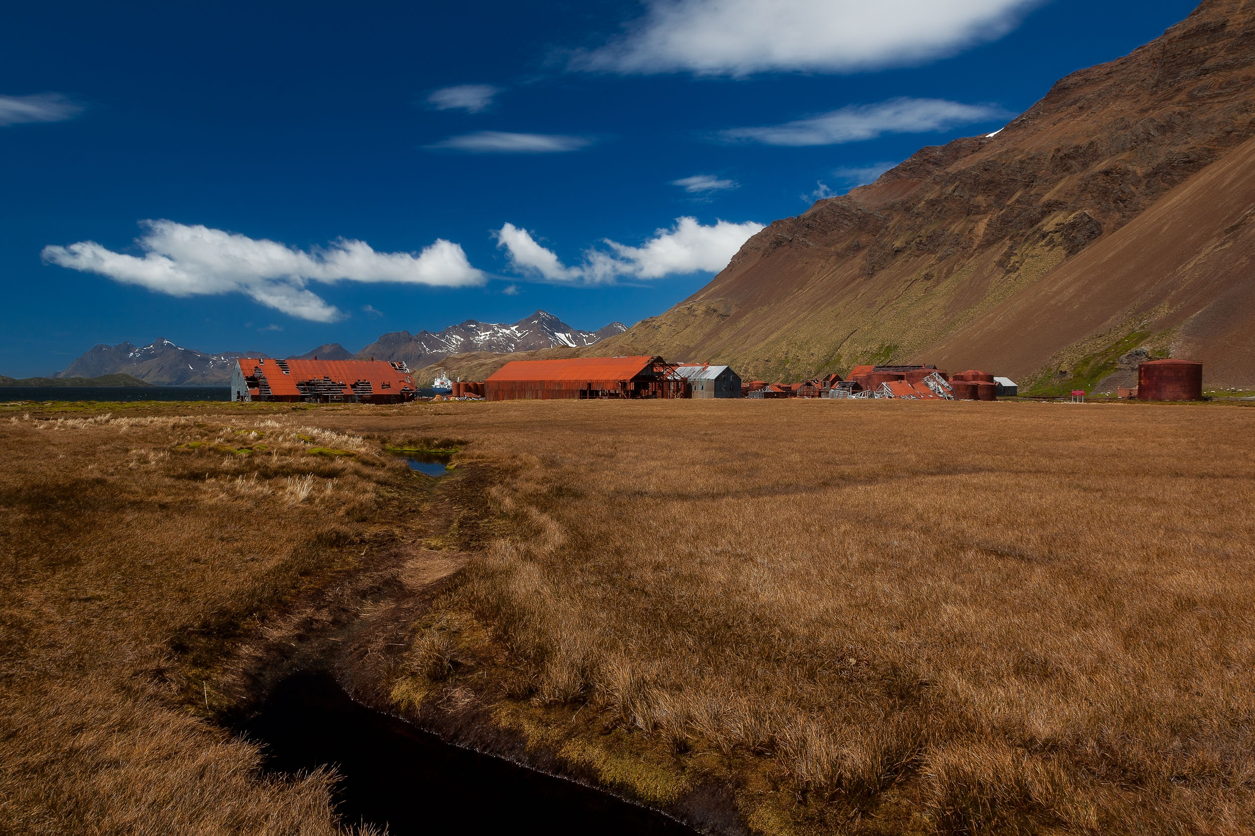 A beautiful day with a view towards the back of the Stromness Wailing Station on South Georgia Island in the Southern Ocean