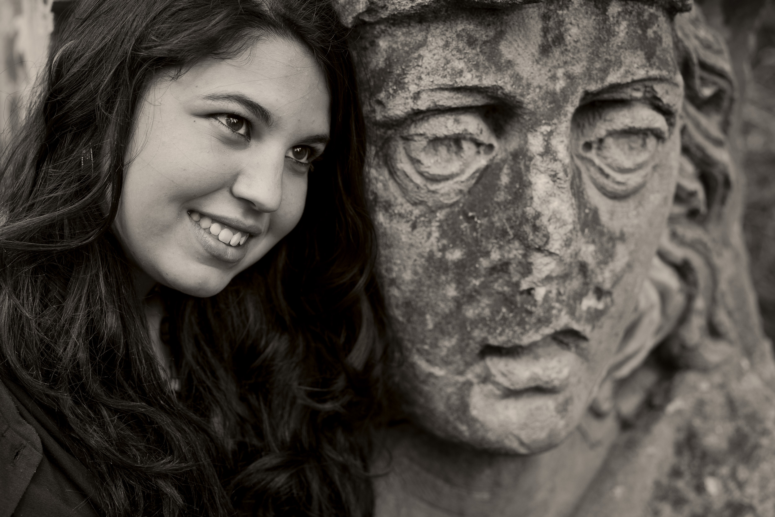 A  black and white portrait  of Lisa, a  young Italian student  in  Melbourne, Australia .