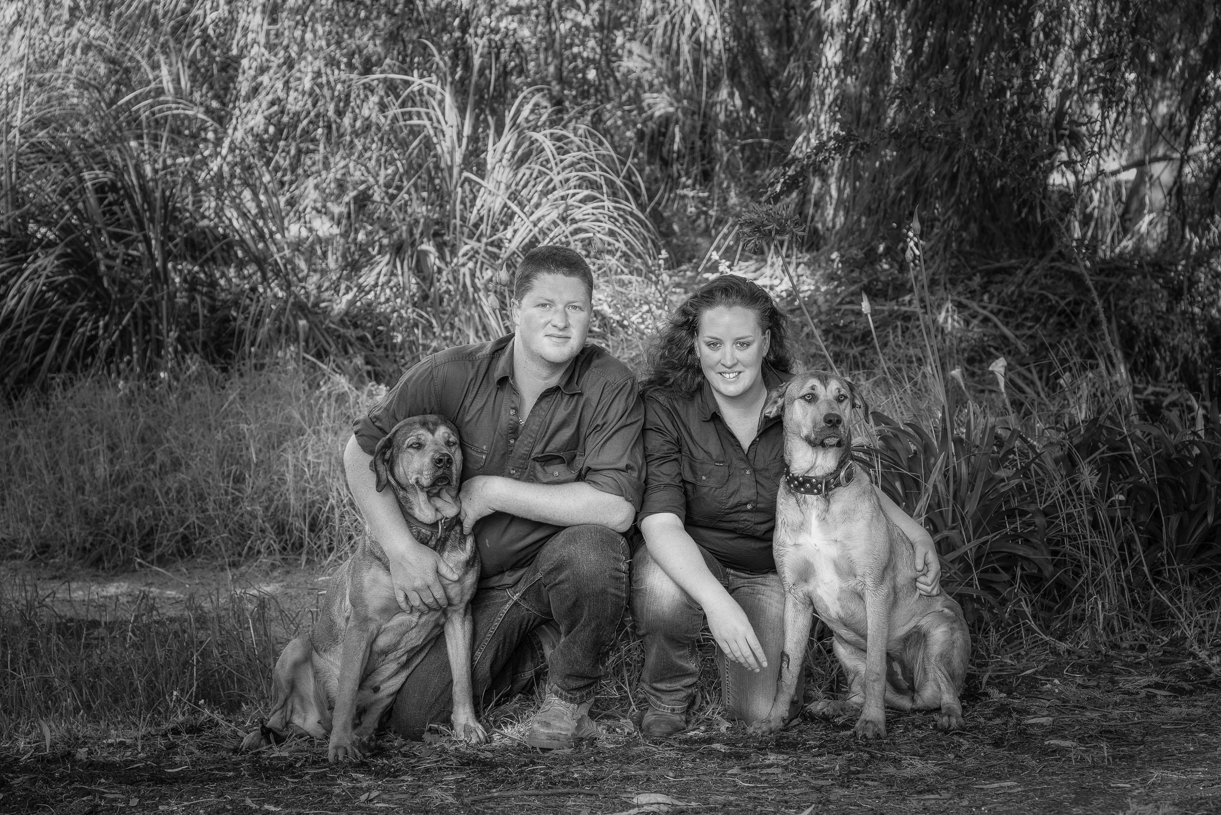 Couple with dogs, Hamilton, Australia .