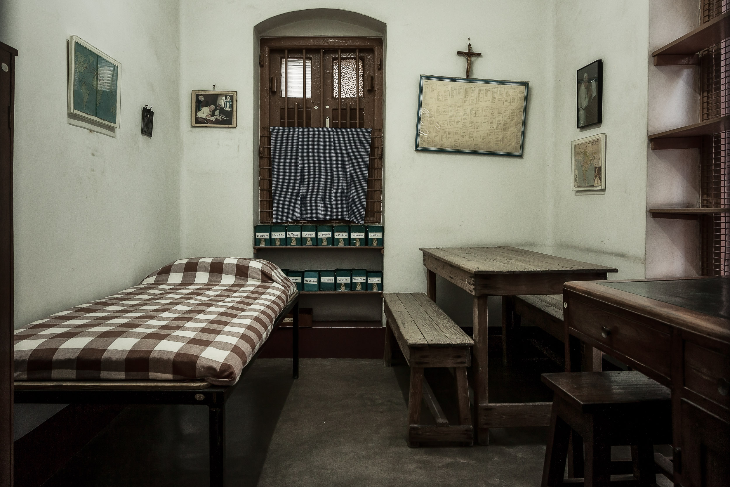 The spartan nature of  Mother Teresa's bedroom  at the  Mother House in Kolkata, India  illustrates the  simplicity of her life , despite the fame she received during her lifetime.