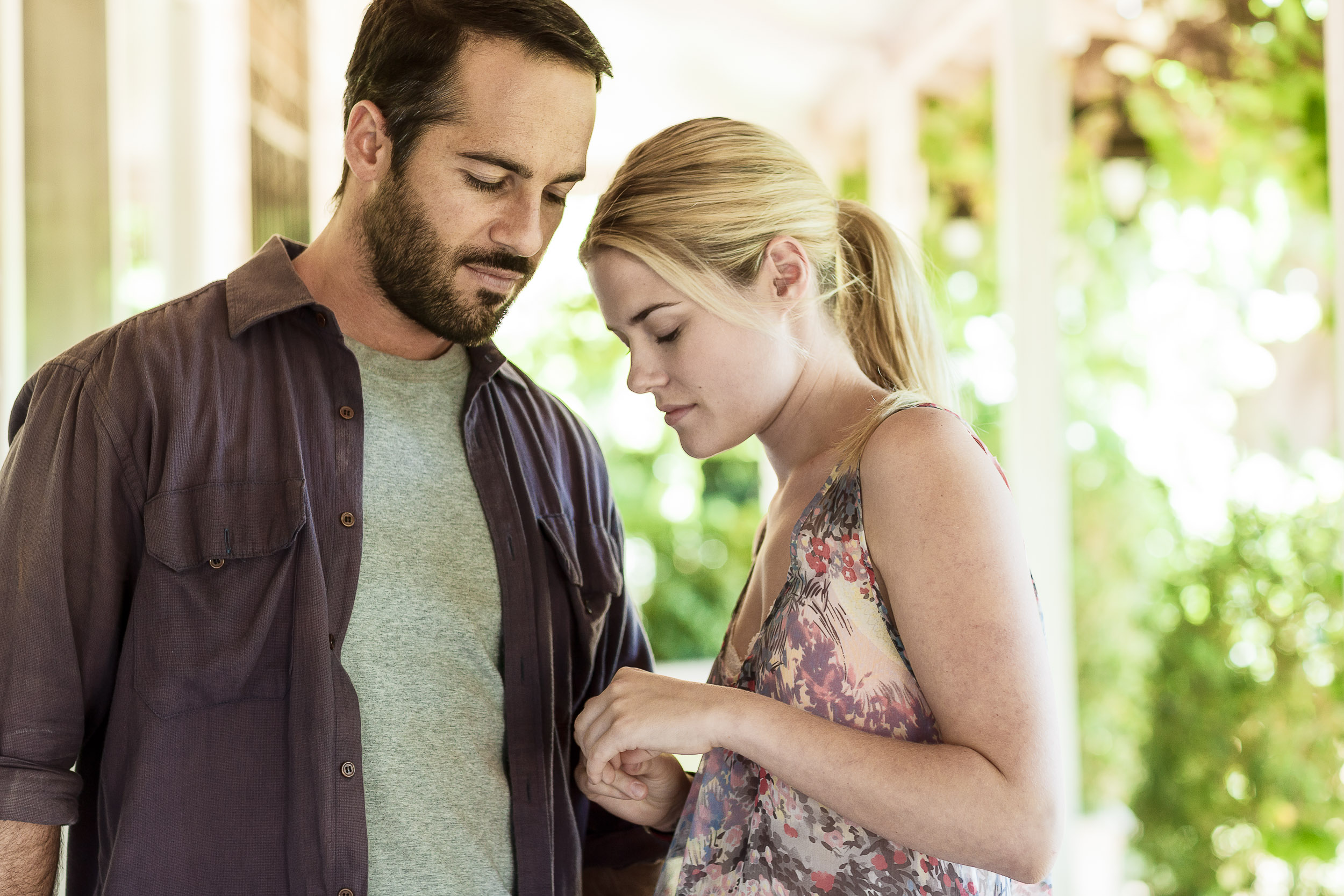 Rachel Taylor  and  Alex Dimitriades  photographed under the veranda of an historic house on the outskirts of  Mildura  during the filming of  Summer Coda .