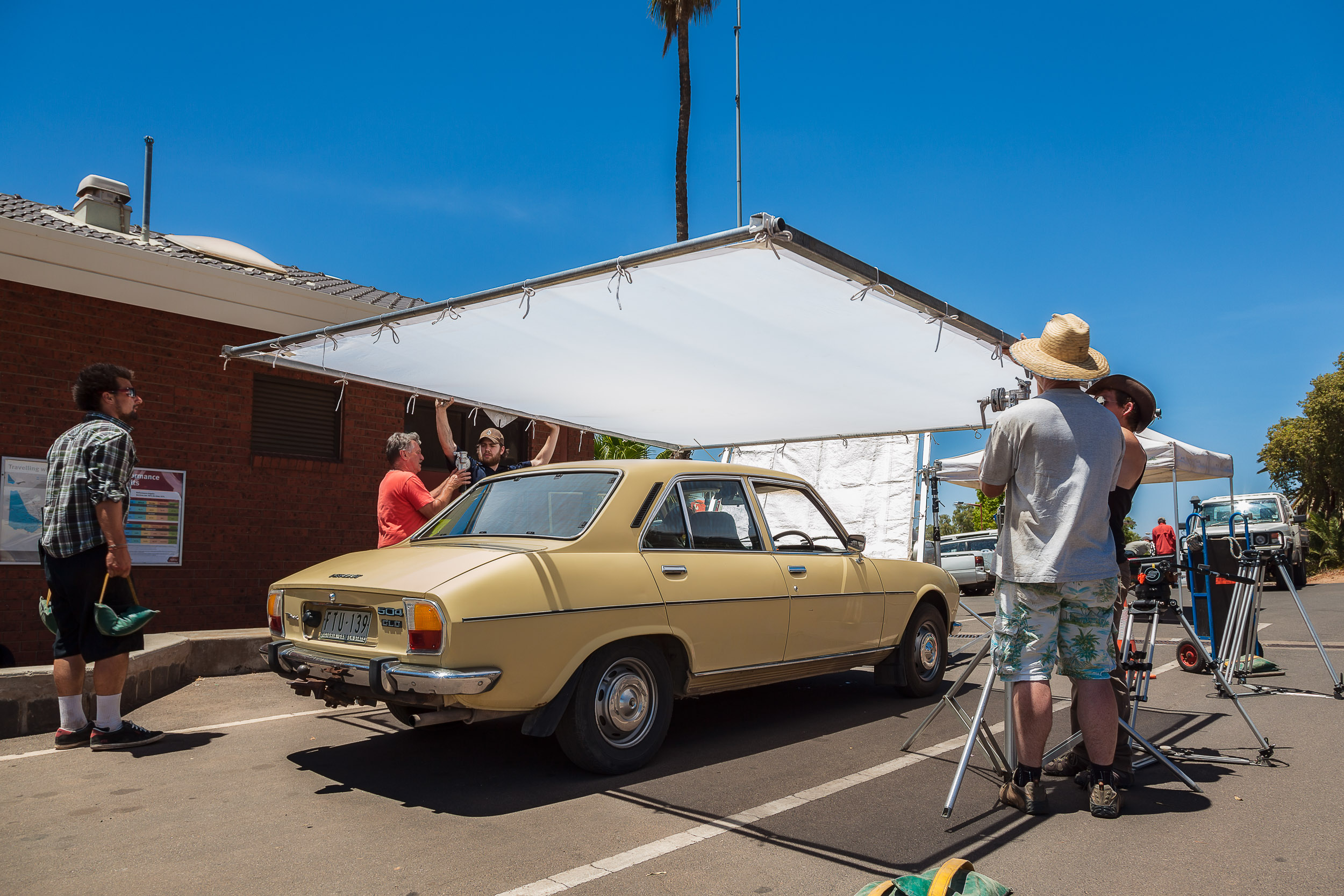 Film crew  setting up for a scene outside the  Mildura Railway Station  during the filming of the Australian motion picture film  Summer Coda .