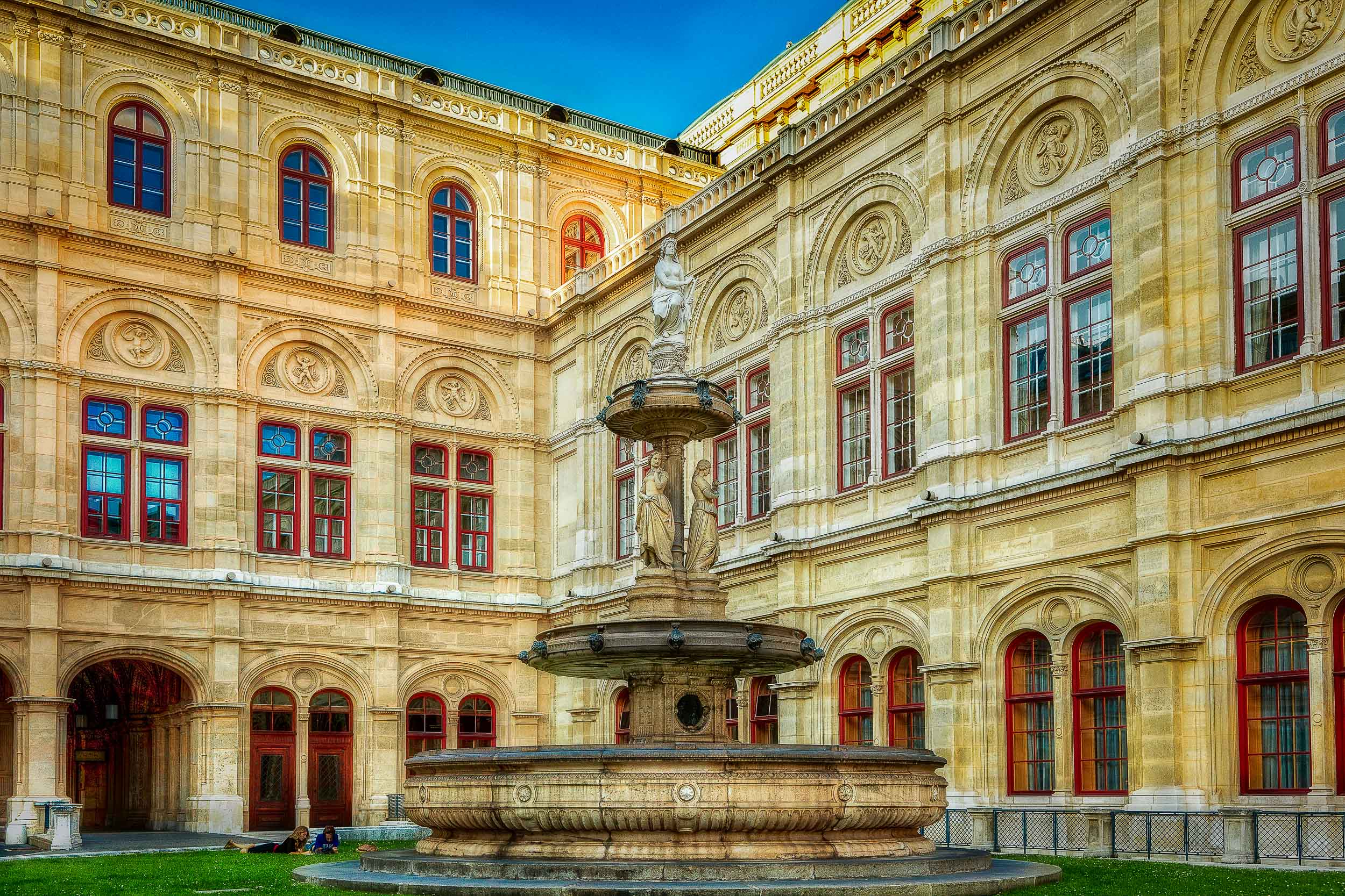 A beautiful    fountain    in the grounds of a city building,    Vienna, Austria