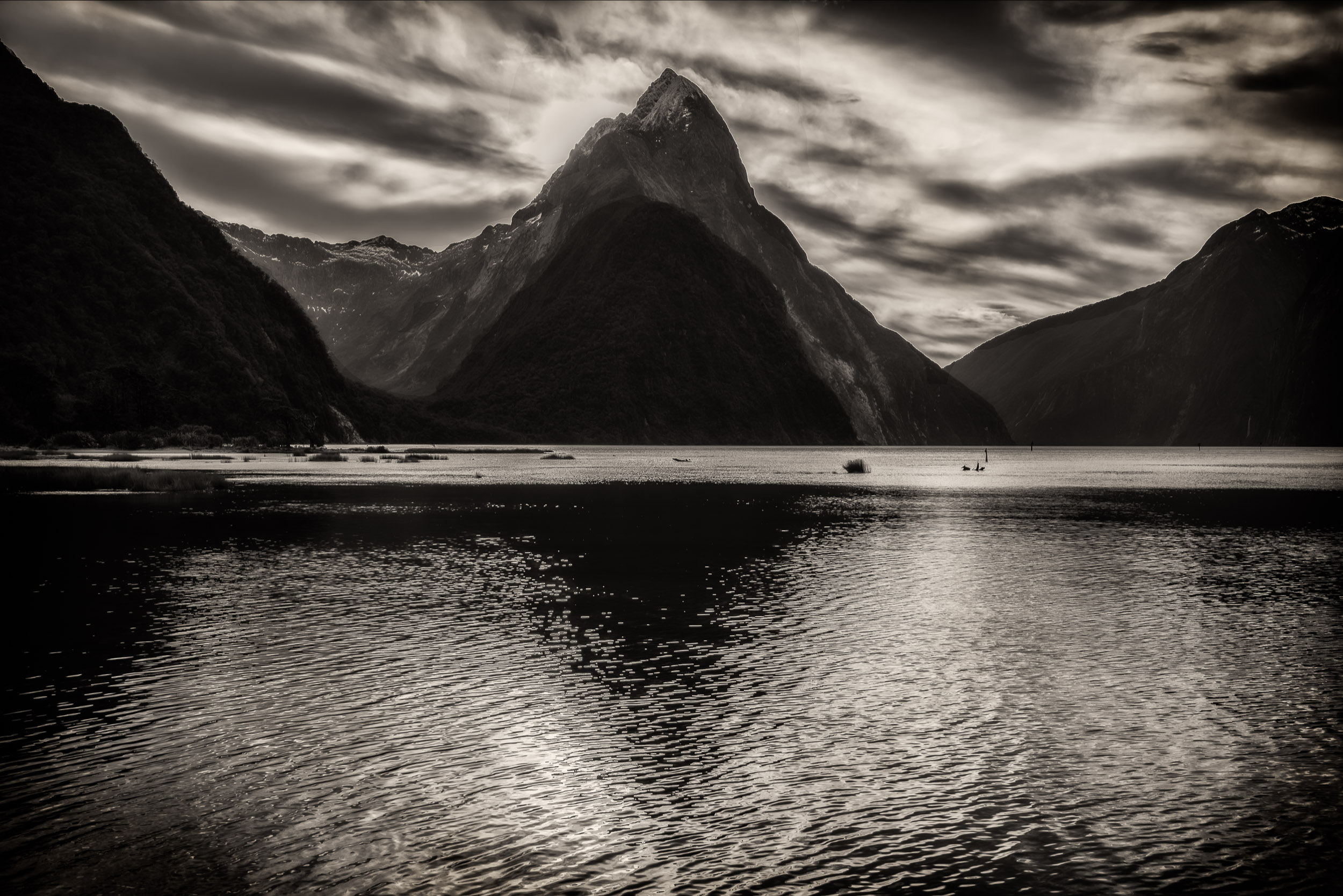 A lovely reflection of    Mitre Peak    on    Milford Sound    in Fiordland,    New Zealand   .