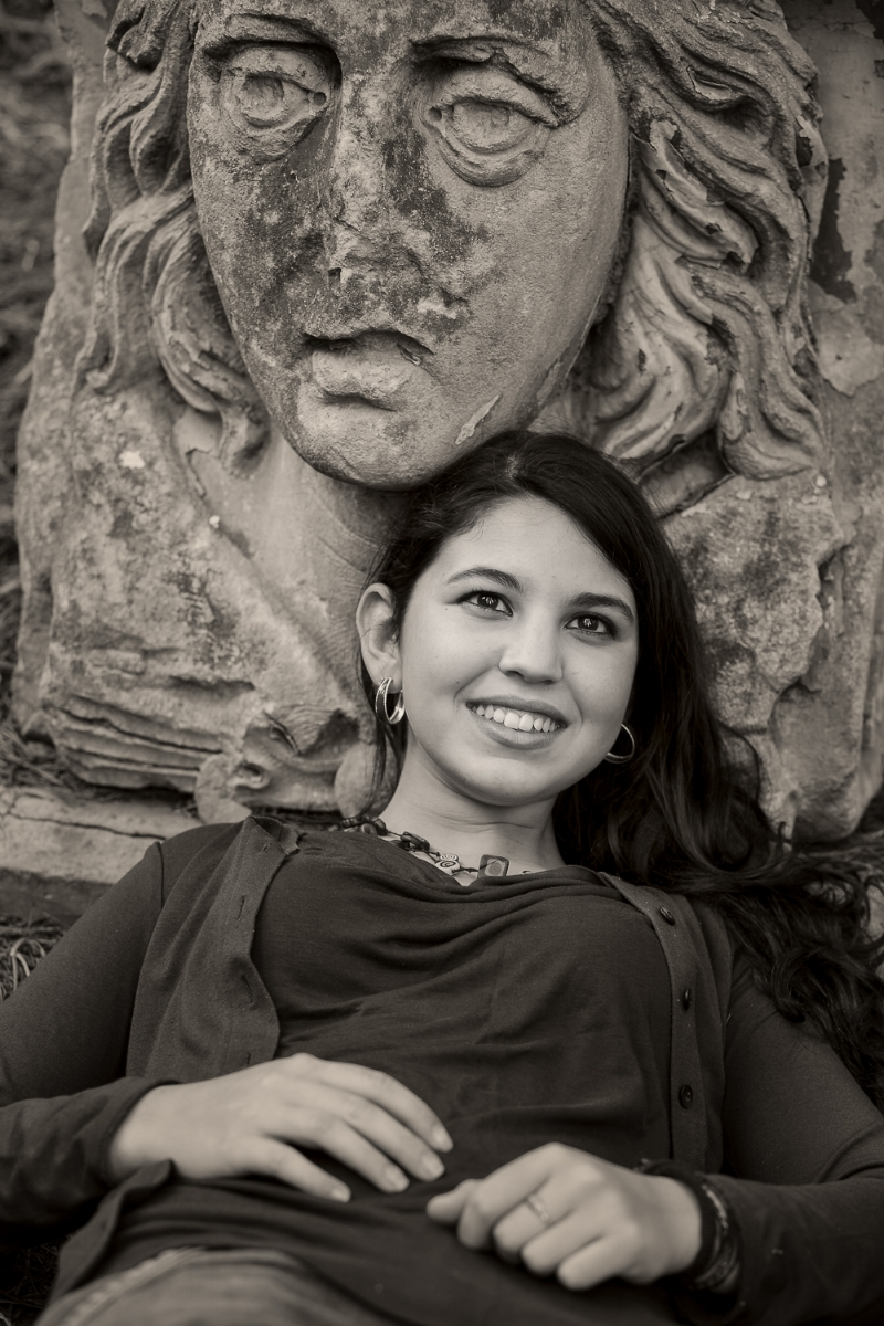 A  portrait of Lisa , a young Italian exchange student,  bathed in light  in Melbourne, Australia.