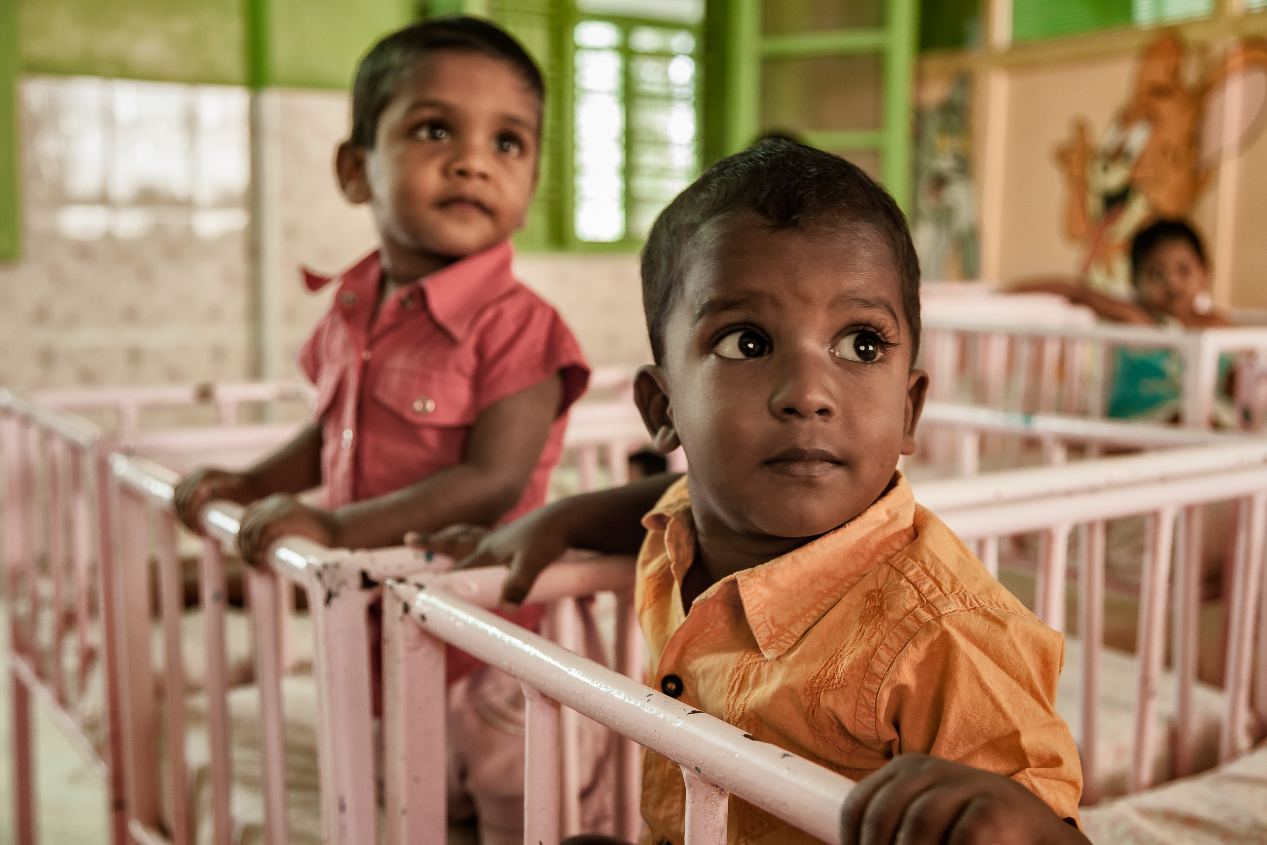 Children, just before their daytime nap, in a    nursery    on    St. Thomas Mount    in    Chennai, India   .