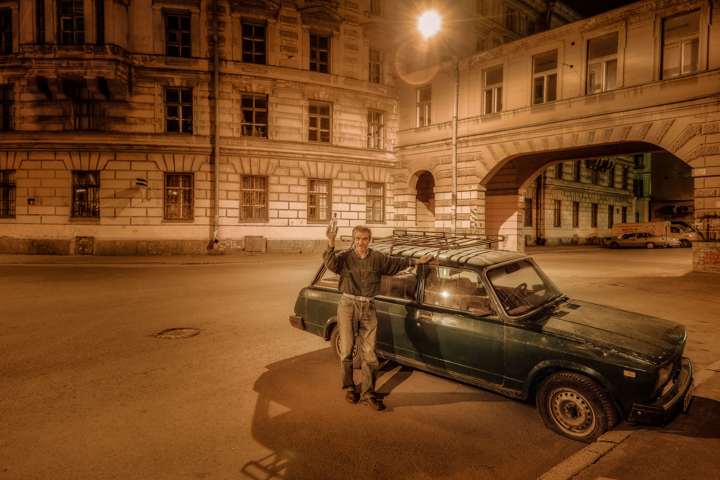 A gentle and friendly man I met near the end of a night photography adventure I undertook in St. Petersburg, Russia.