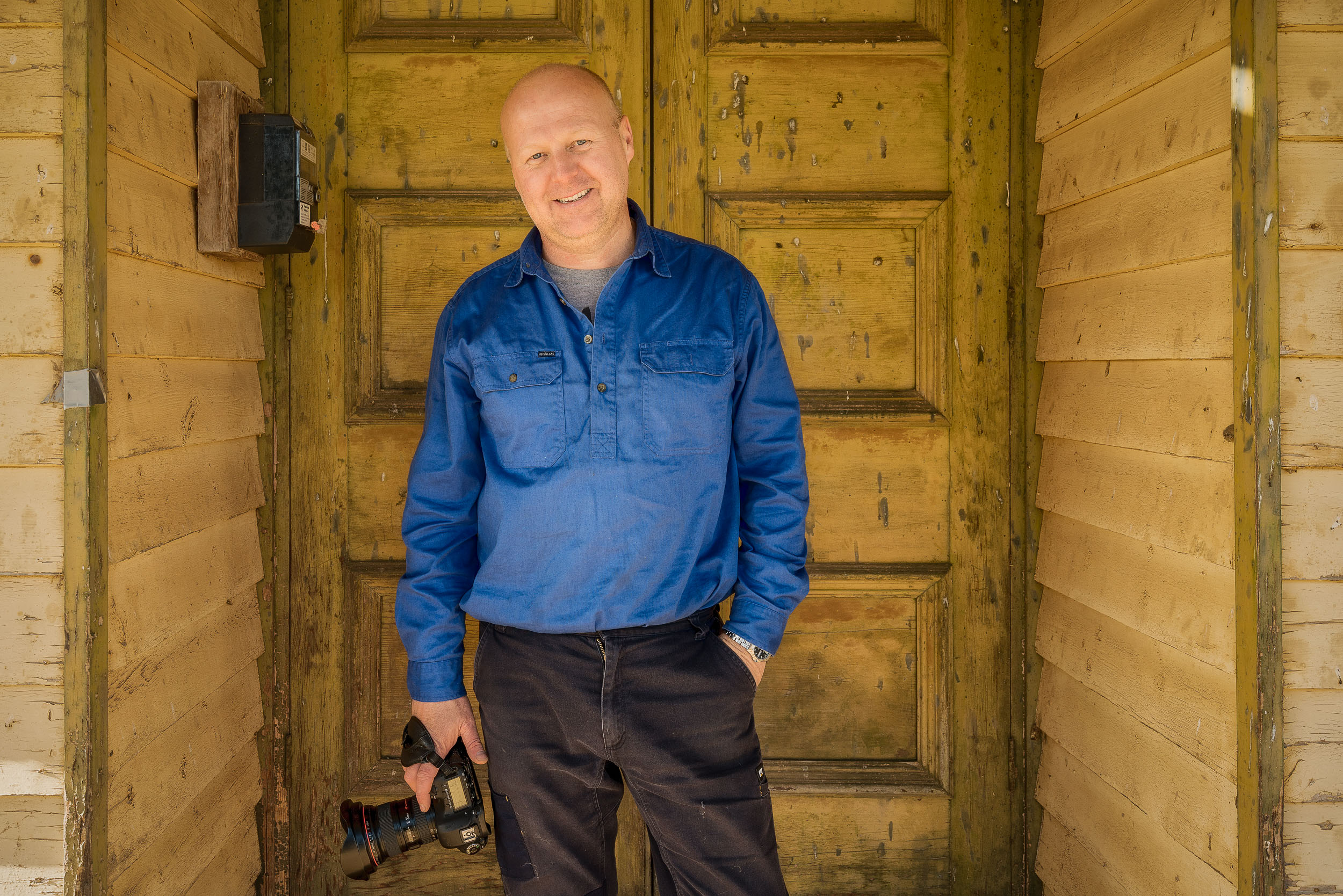 A portrait of my friend, photographer  Gary Bosely , in the town of  Cowangie  in the Mallee region of Victoria,  Australia .