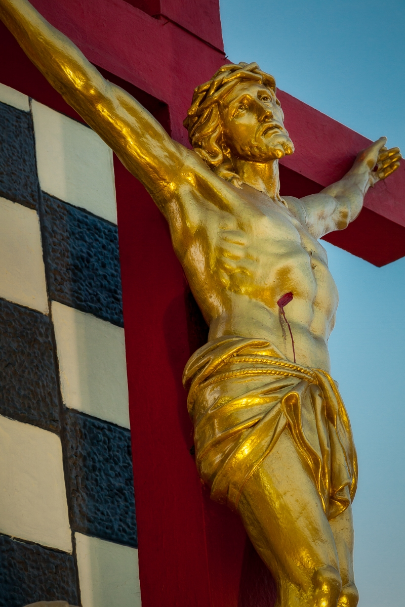 A  statue of the crucifixion  at  St. Thomas Mount National Shrine  in  Chennai, India .