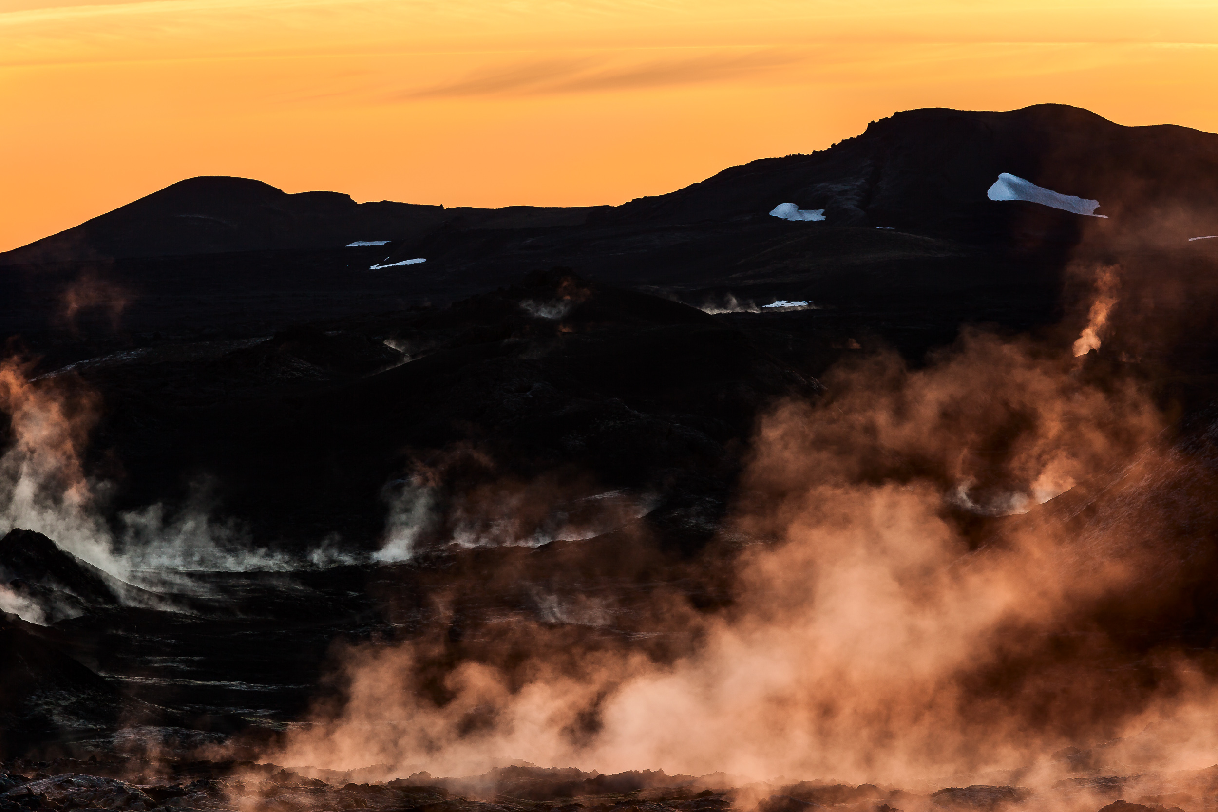 Leirhnjukur Lava Fields  at  sunrise  provide a spectacular, albeit eerie, experience for visitors to  Myvatn  in northern  Iceland .