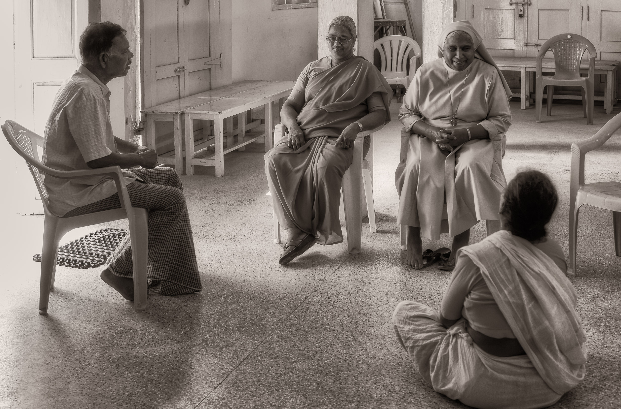 A  casual conversation  in the multi-purpose hall in the  village of Maria Purem (a village named after by mother )near  Chennai, India