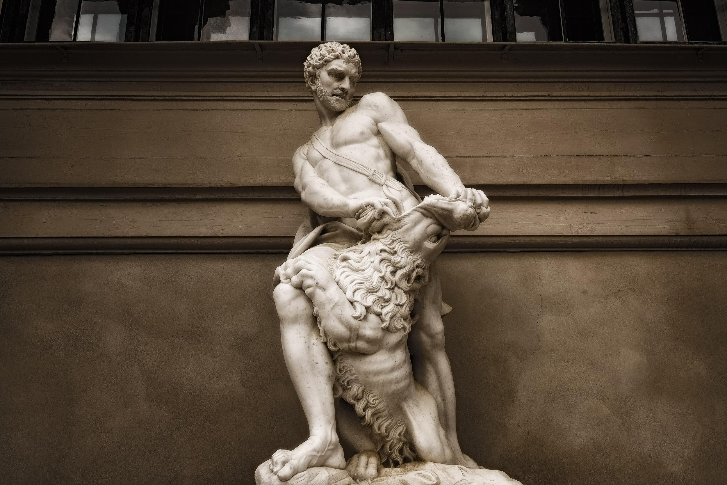 Hercules Statue at the Hercules Pavilion in the Kings Gardens in Copenhagen, Denmark .