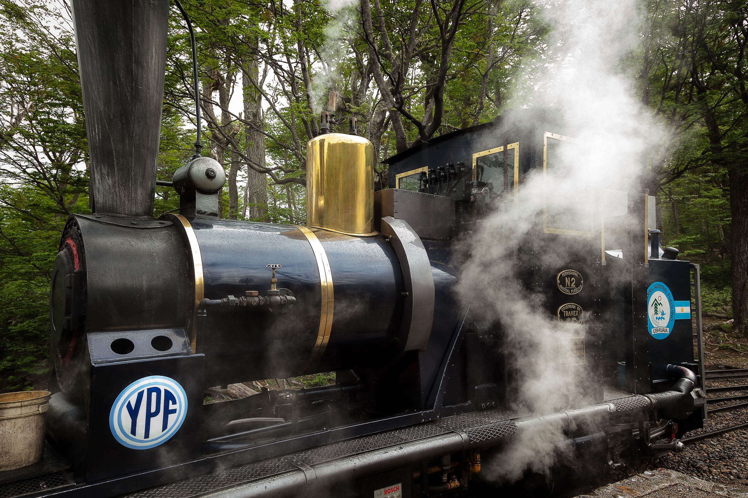 The  engine  of a lovely  steam train  in the T ierra del Fuego National Park ,  Argentina .