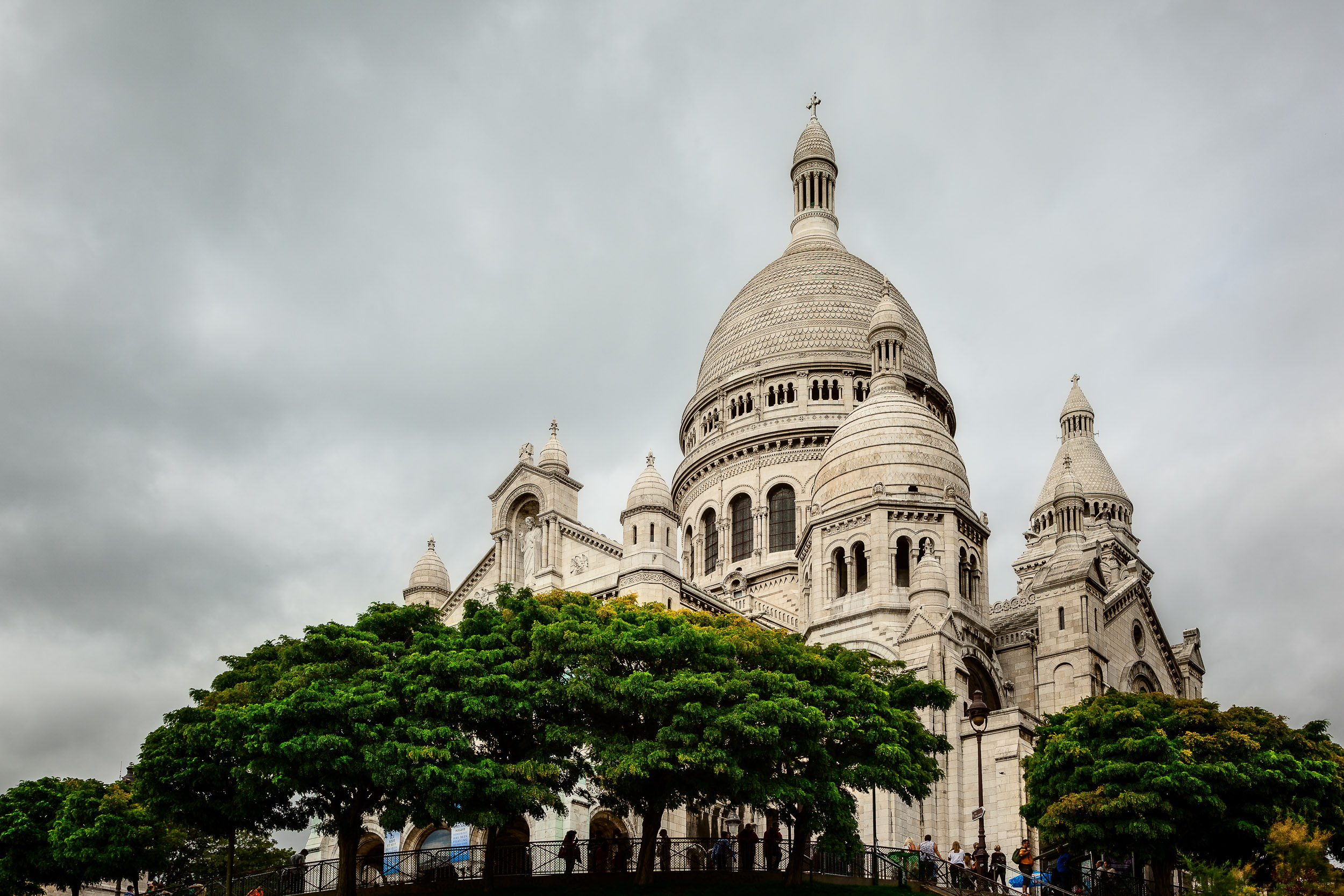 An upward view of the beautiful    Sacre Coeur Basilica    in    Montmarte    in    Paris, France   .