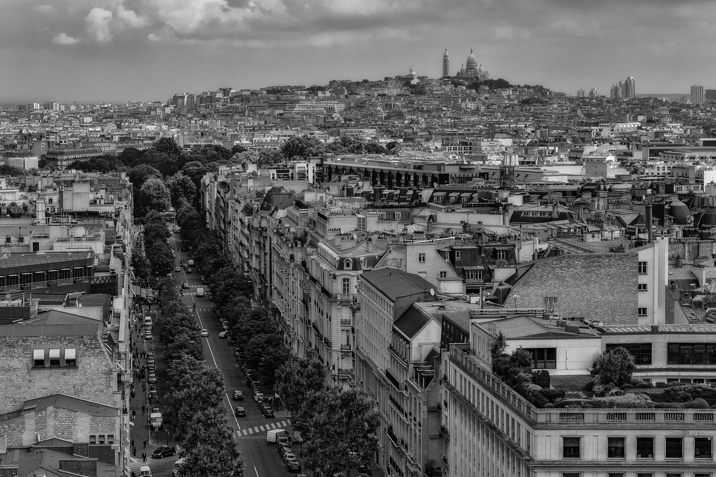 A    rooftop view    towards the    Sacre Coeur Basilica    on    Montmarte    in    Paris   .