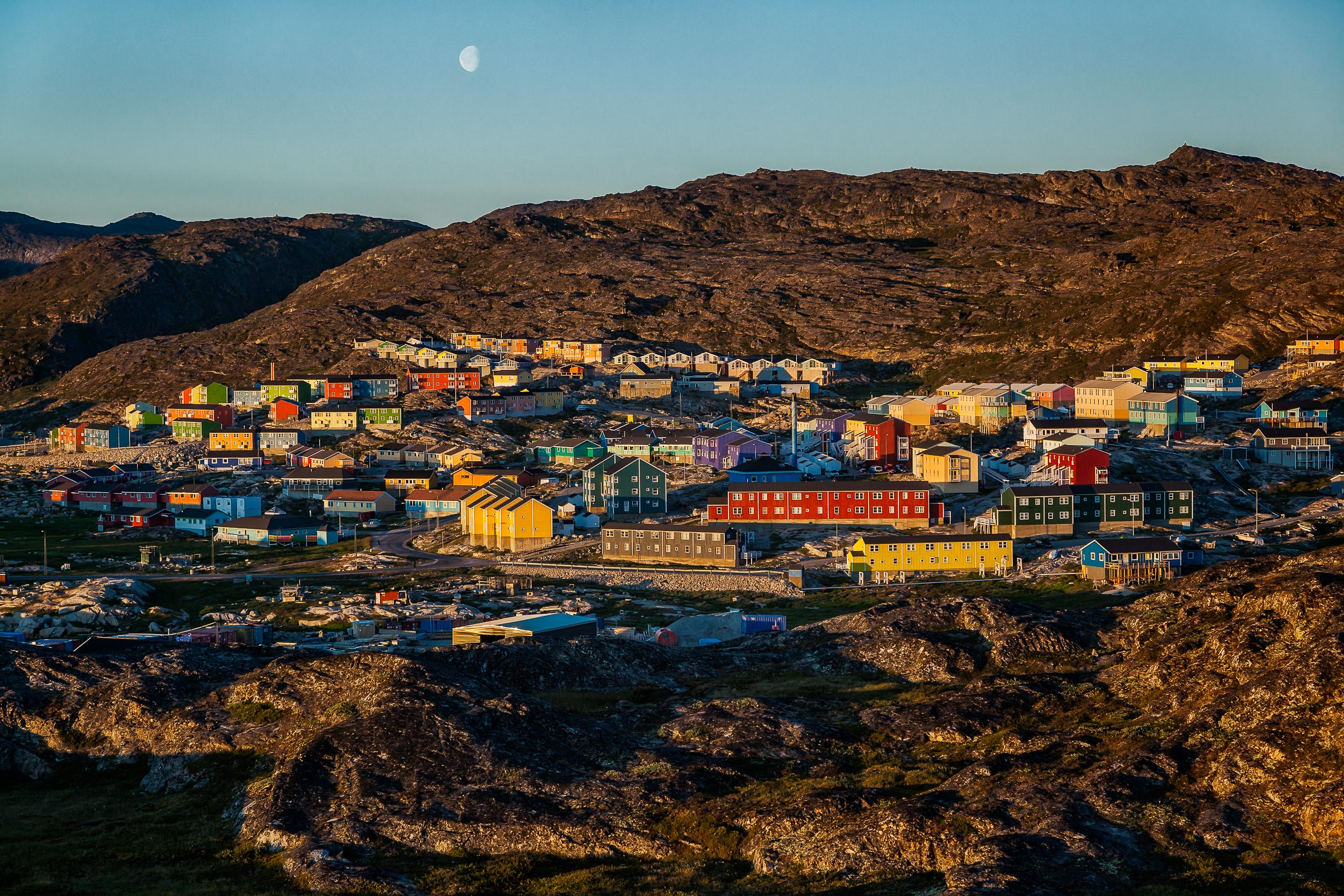 A sweeping view of    housing    in the city of    Ilulissat, Greenland
