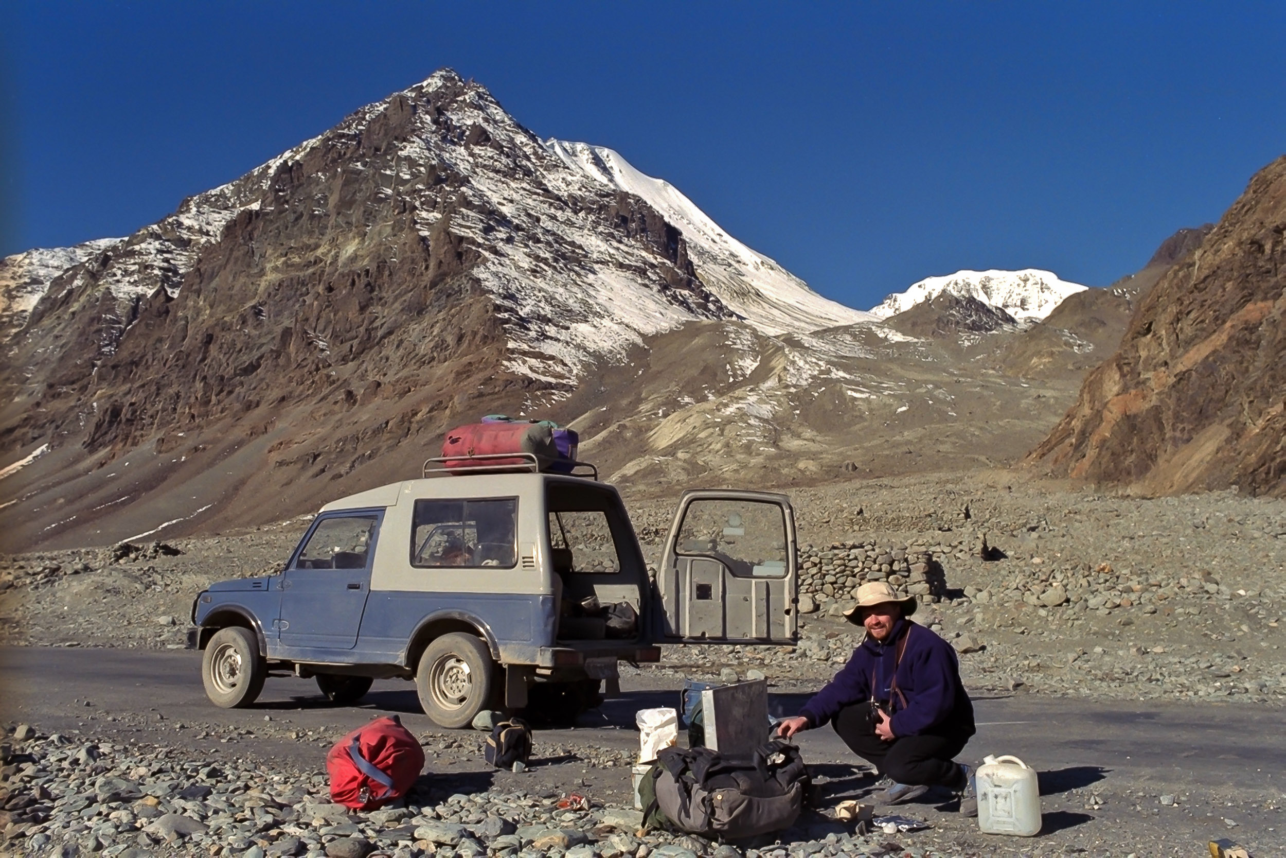Glenn Guy   , the    Travel Photography Guru   , unpacking the jeep prior to another auto repair on the road to    Pangong Tso, Ladakh, India    back in the    early 90's   .