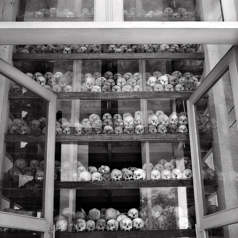 A shrine, full of  skulls , at the  Killing Fields  near  Phnom Penh  in  Cambodia .