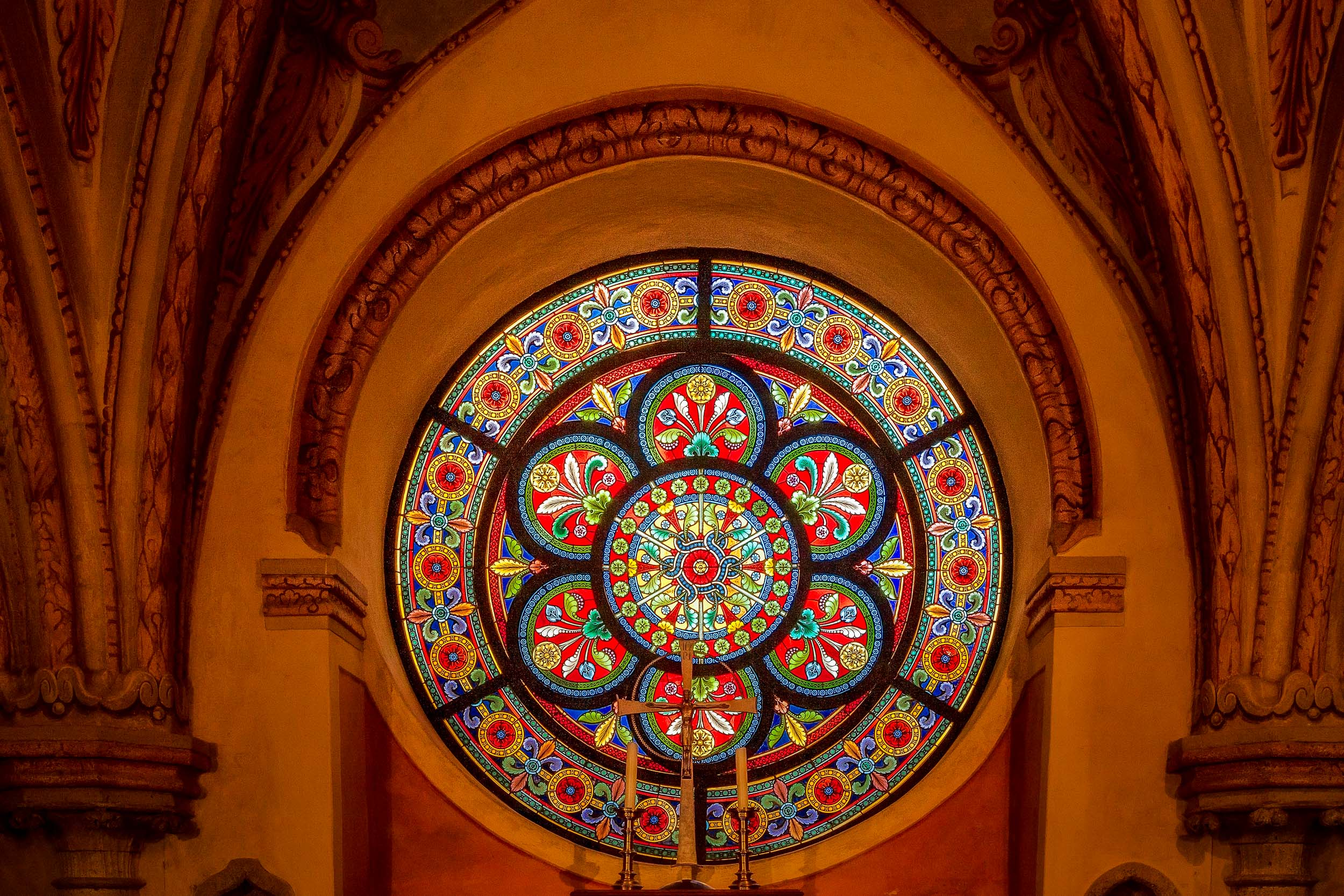 A spectacular  stained glass window  in the  chapel  where the body of  Duke Frederick II rests  at  Helligenkreuz Abbey  in  Austria .