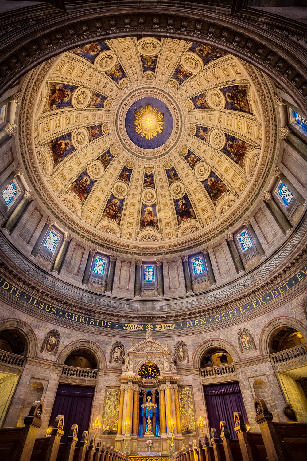 An    interior view of the dome    at the magnificent    Frederik's Church   , also known as the    Marble Church   , in    Copenhagen, Denmark    made with my    Sony A7Rii camera    and    Sony/Zeiss 16-35mm f4 lens    at 16 mm.