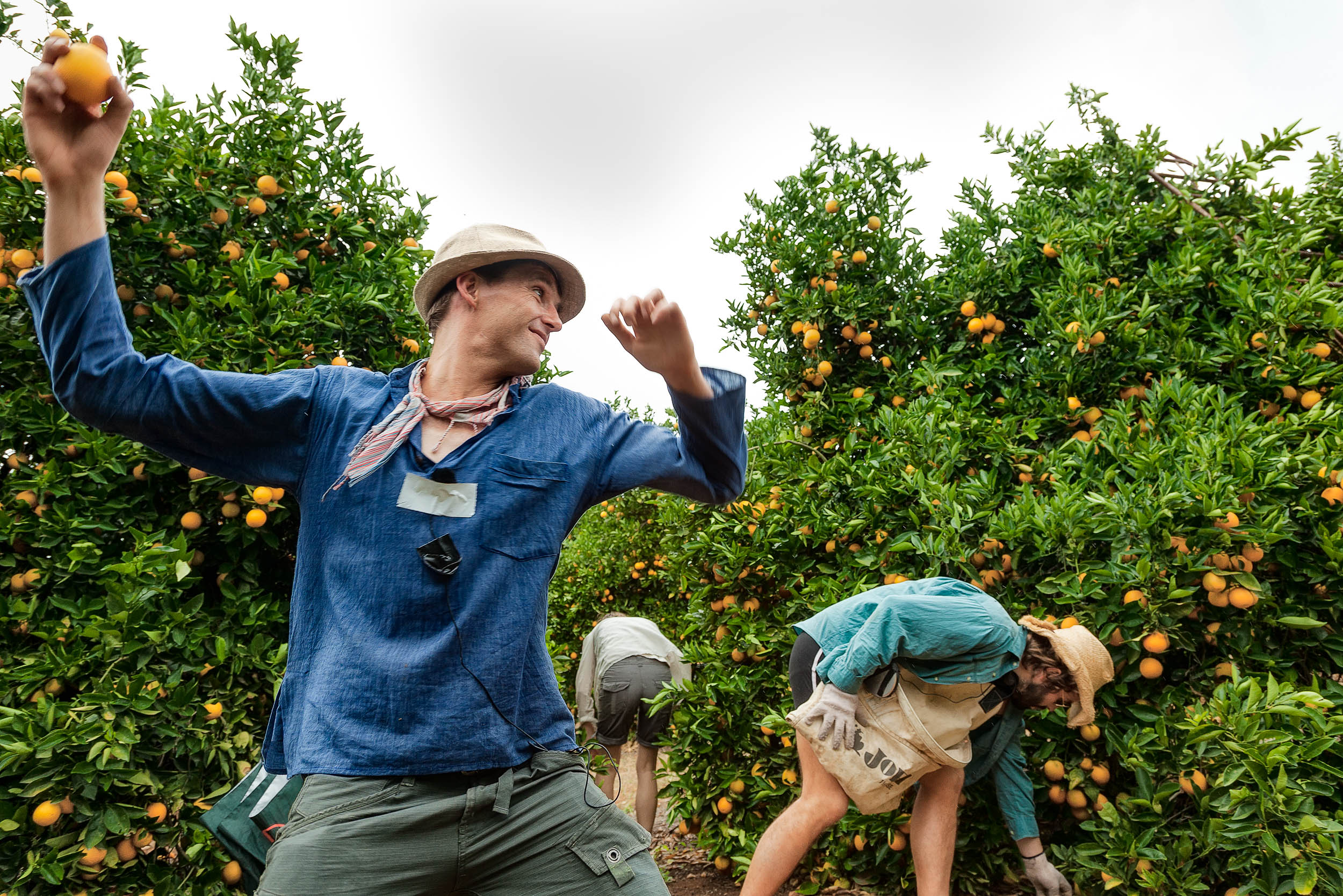 A    candid moment   , about to be unwound, recorded during a break in the filming of    Summer Coda    in the    orange groves    near    Mildura, Australia   .