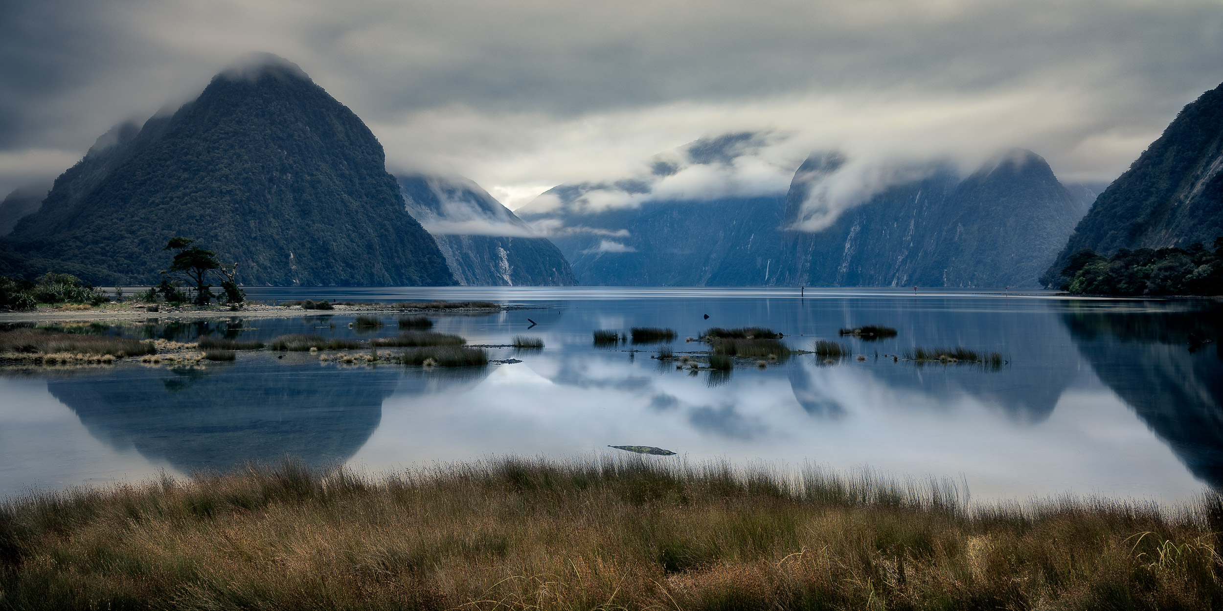 The    blue light of dawn    on a still morning at    Milford Sound, New Zealand   .