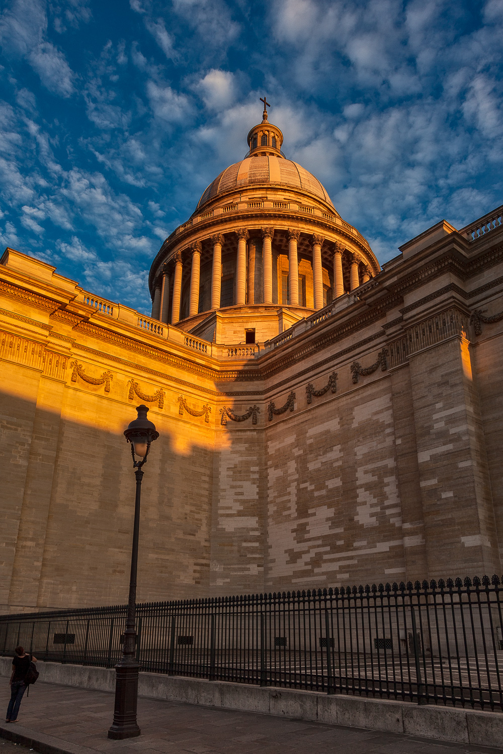 Sunset  illuminates the dome on the top of the  Pantheon  in  Paris, France .
