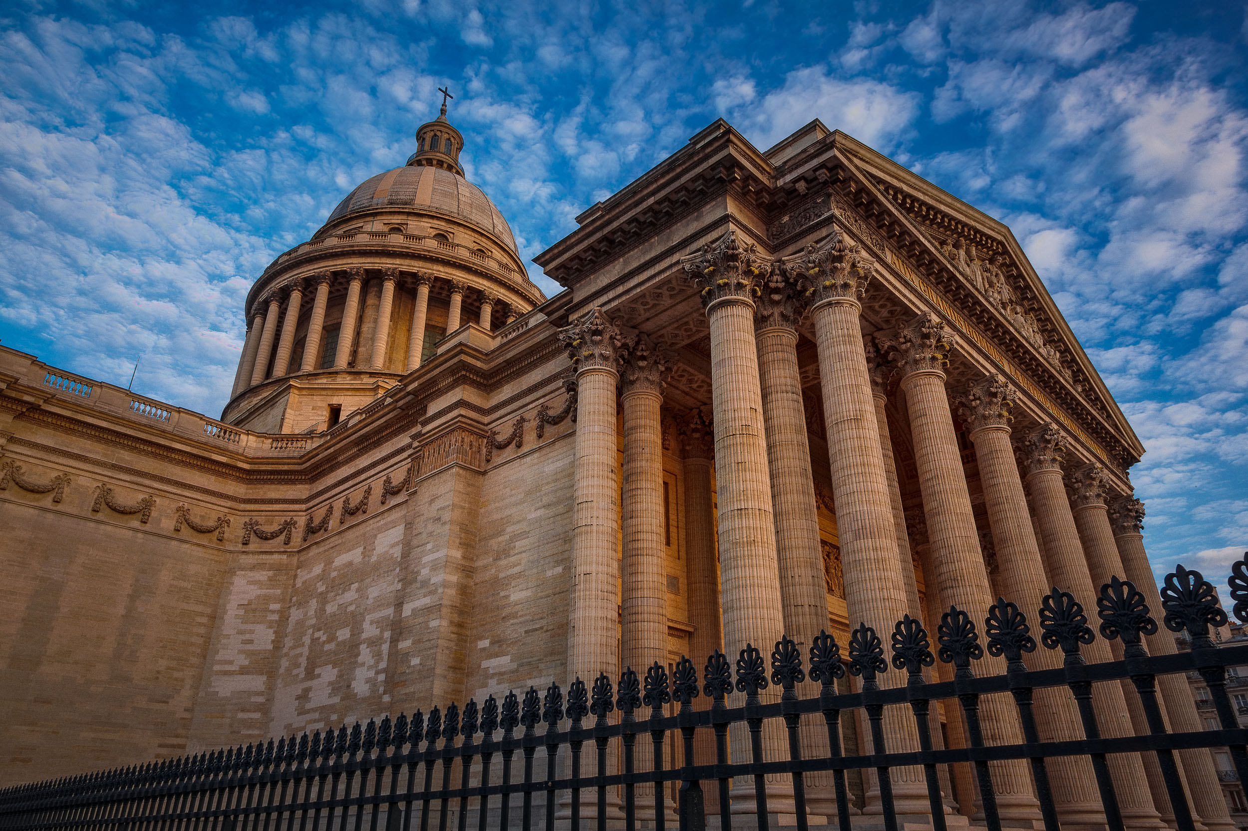 A dynamic view of the  Pantheon , lit with the last light of the day, in  Paris, France .
