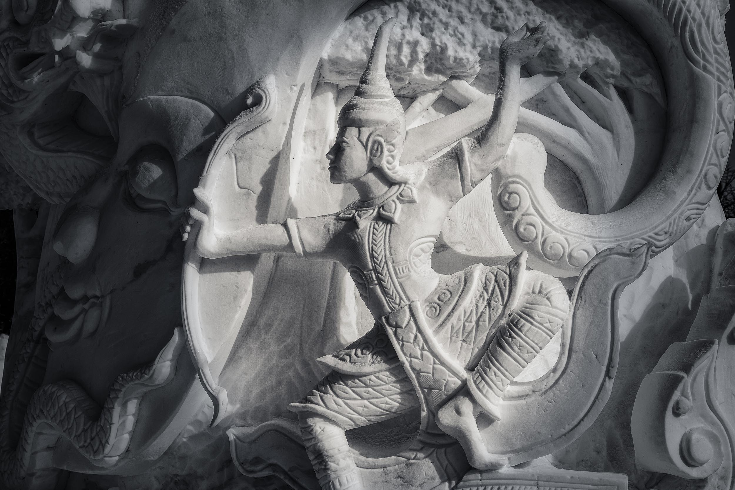 A    Thai warrior   , carved in snow at    Snow World    in    Harbin, China   .
