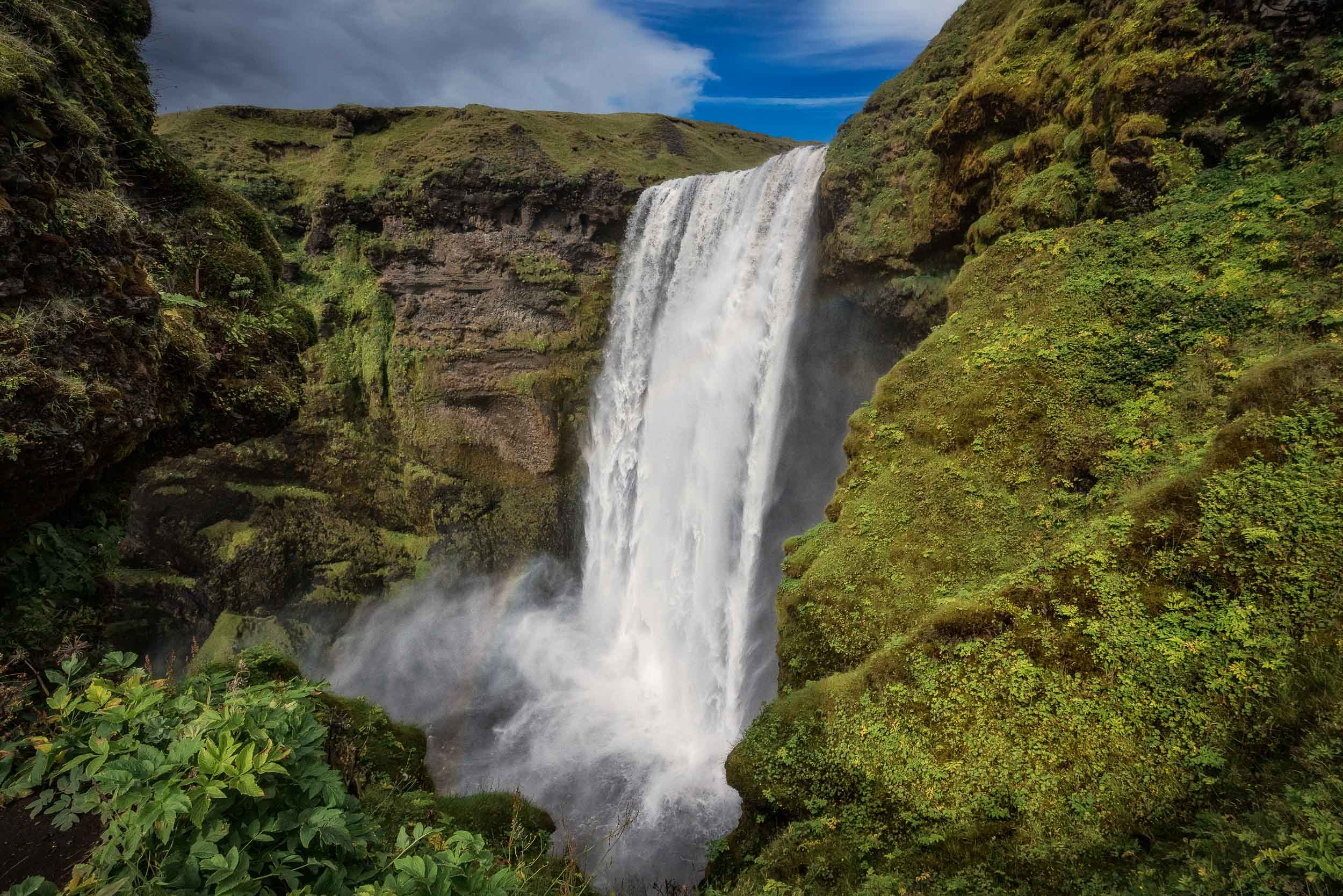 A side on view of the spectacular    Skógafoss waterfall    in    southern Iceland   .