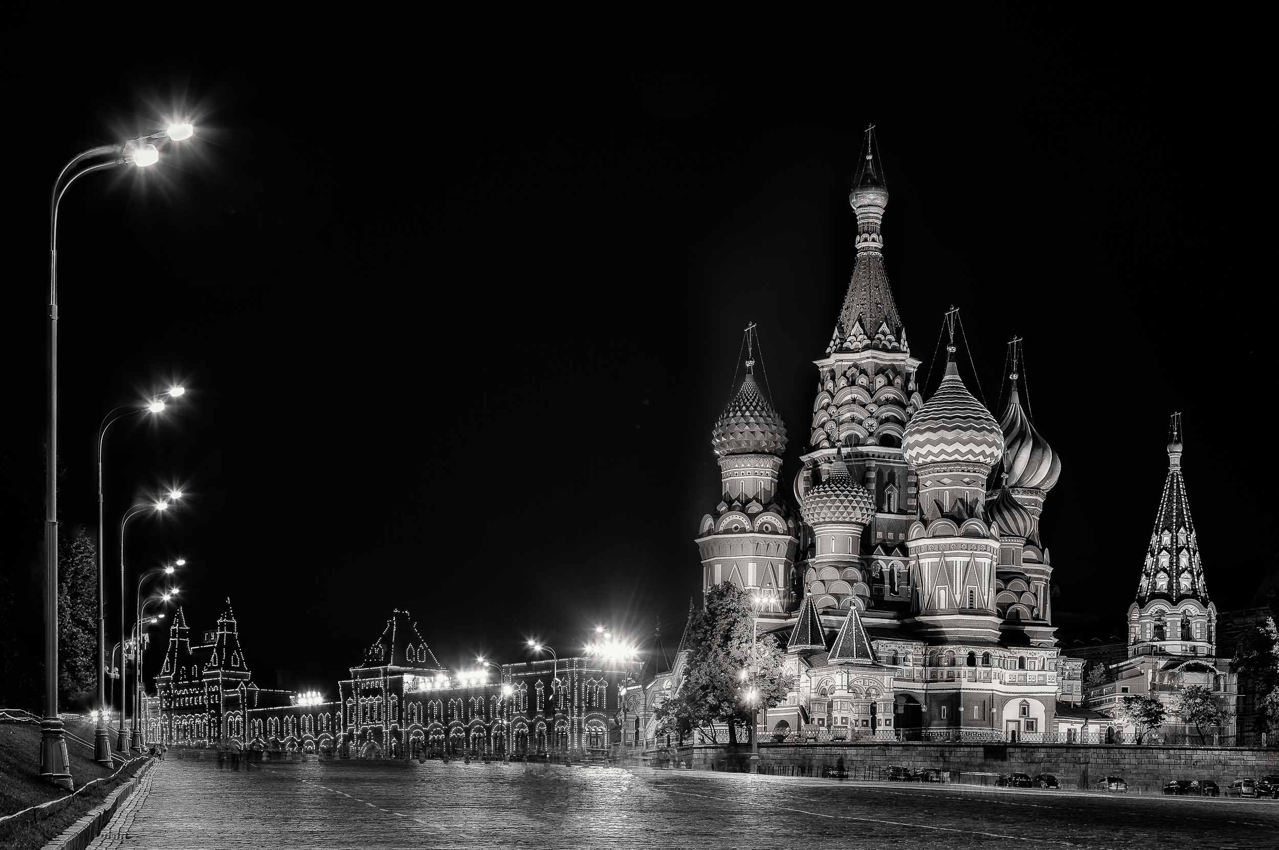 The quiet of night at    St. Basil's Cathedral    in    Red Square, Moscow   , Russia.